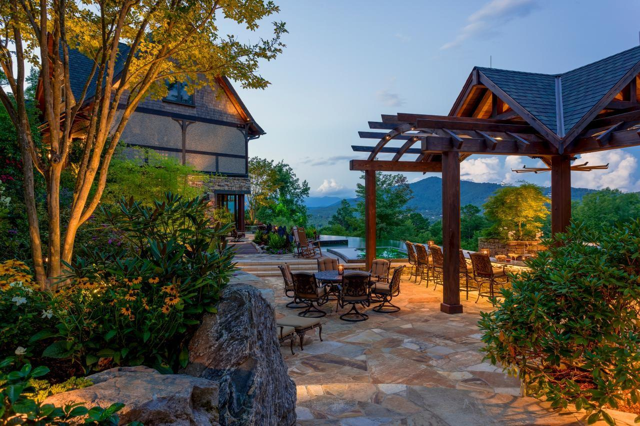 Rustic Outdoor Space Infinity Pool Kitchen