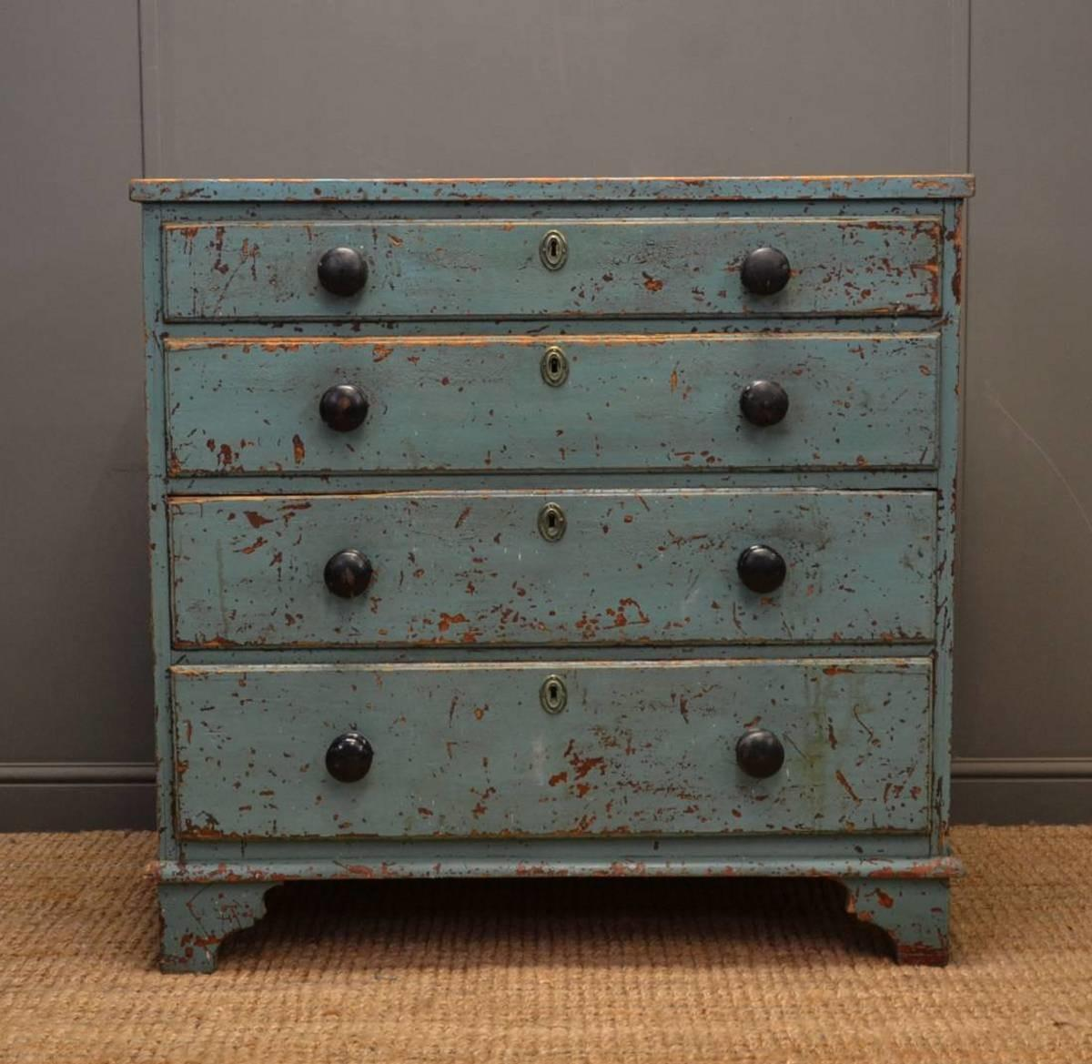 Rustic Painted Georgian Antique Chest Drawers