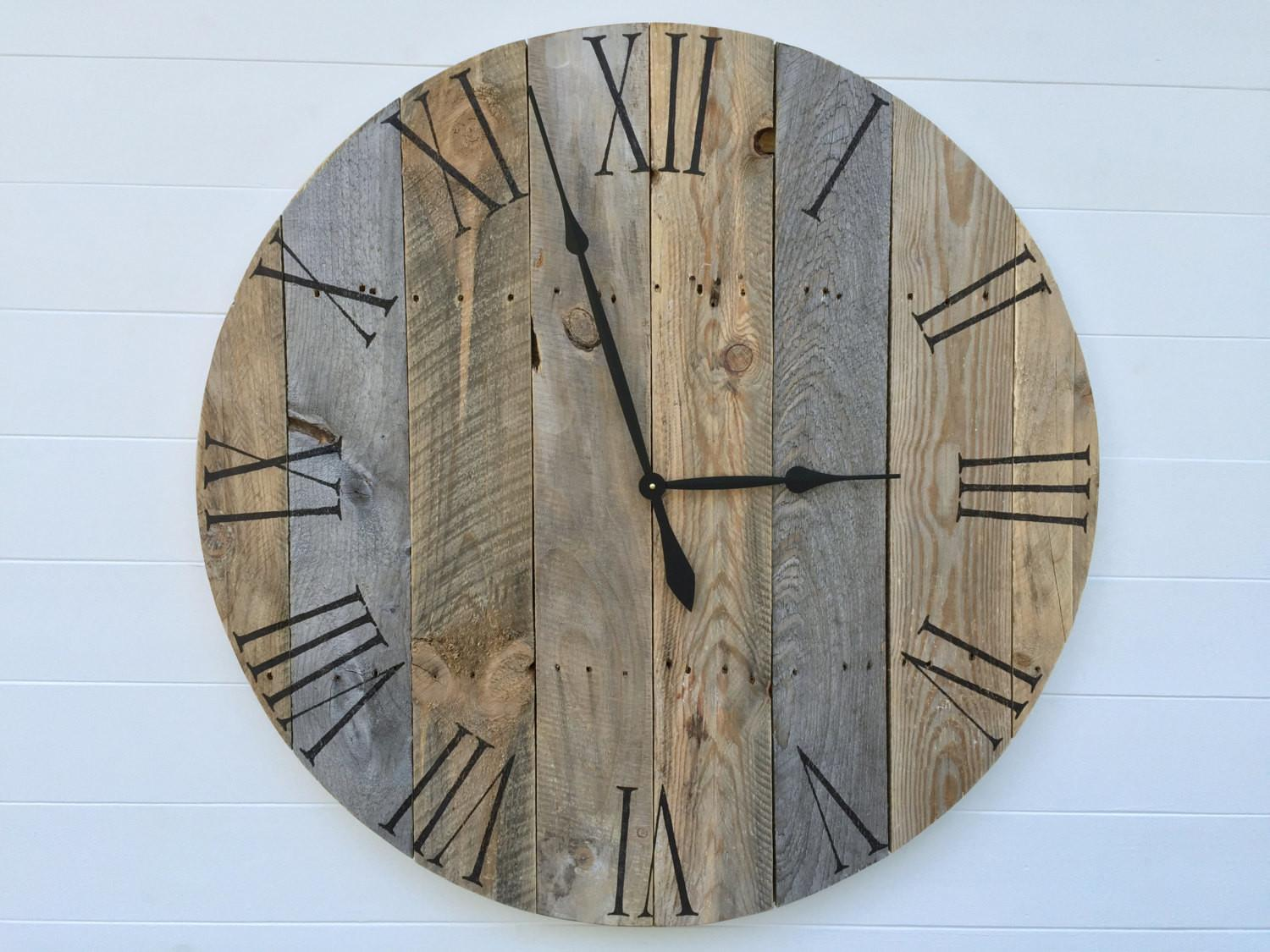 Rustic Pallet Wood Wall Clock Ticktockcreations Etsy