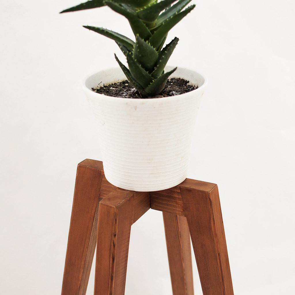 Rustic Plant Stand Wood Legs Planter Base Mid