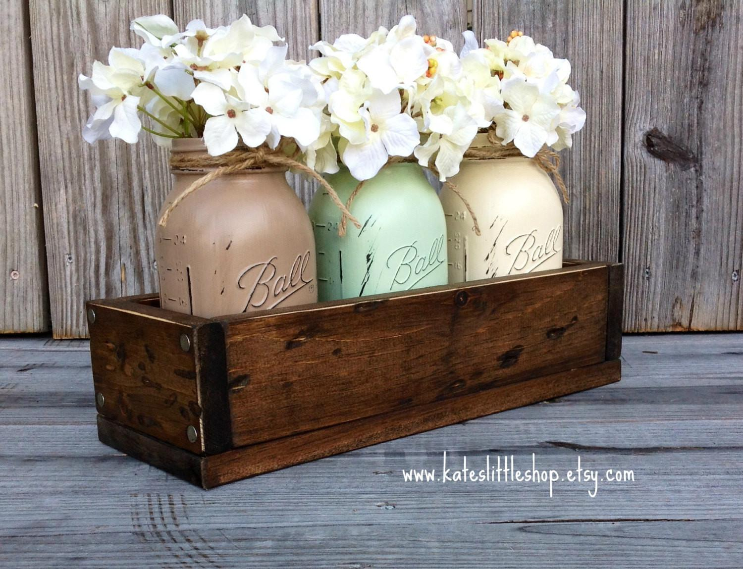 Rustic Planter Box Painted Mason Jars