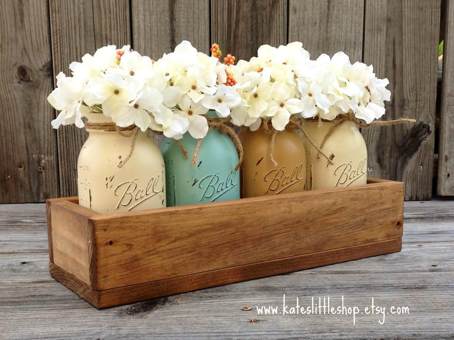 Rustic Planter Box Painted Mason Jars Home