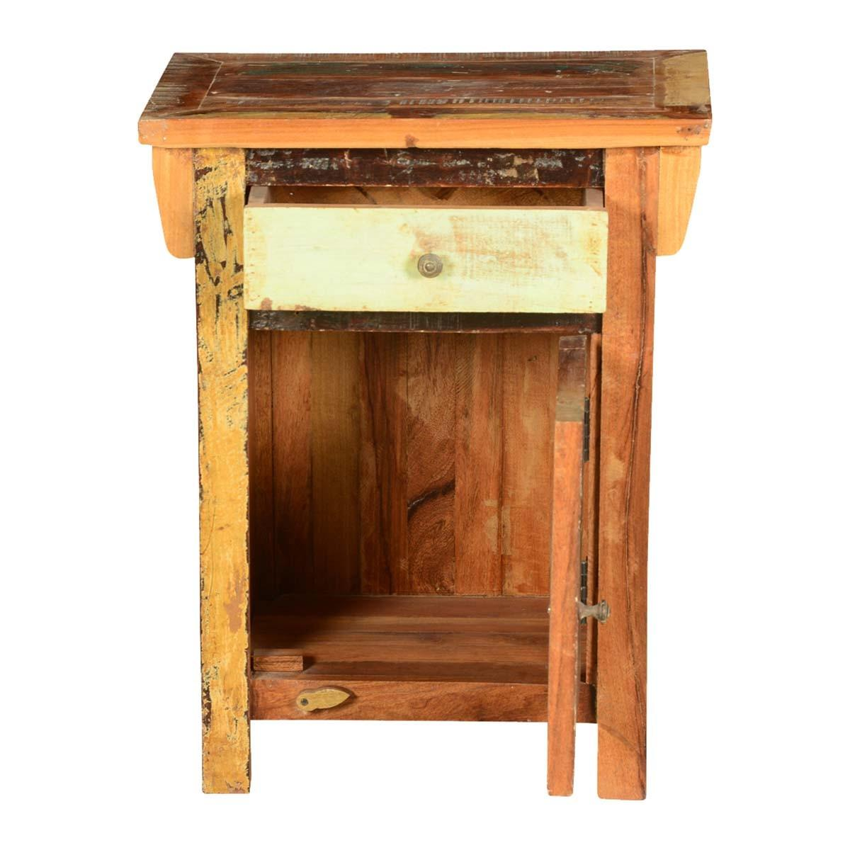 Rustic Square Reclaimed Wood Nightstand End Table Cabinet