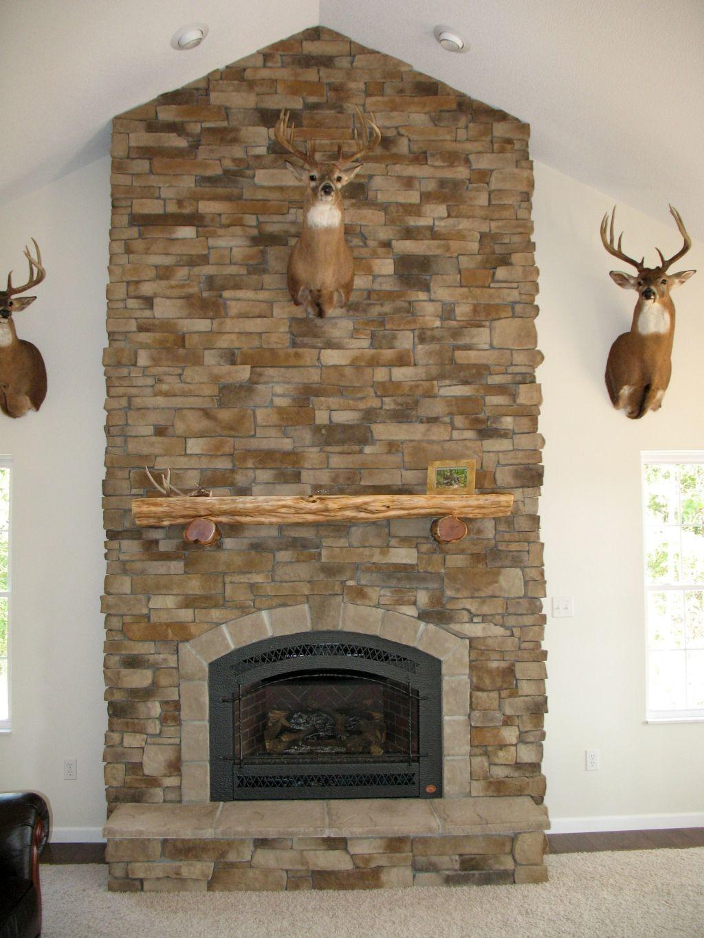 Rustic Stack Stone Fireplaces Lodge