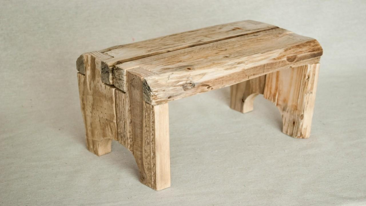 Rustic Step Stool Made Reclaimed Recycled Wood
