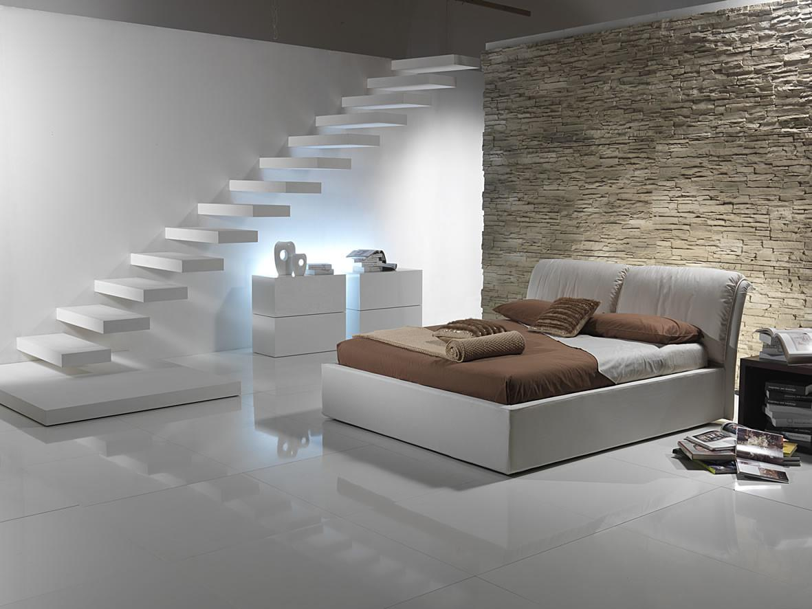 Rustic Stone Wall Floating Shelves Modern Beds Cool Hidden