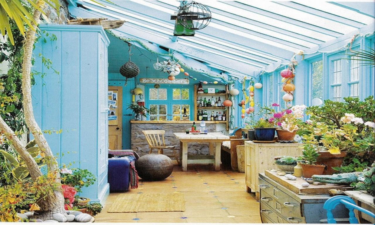 Rustic Sunroom Cottage Lovely Sky Blue Walls