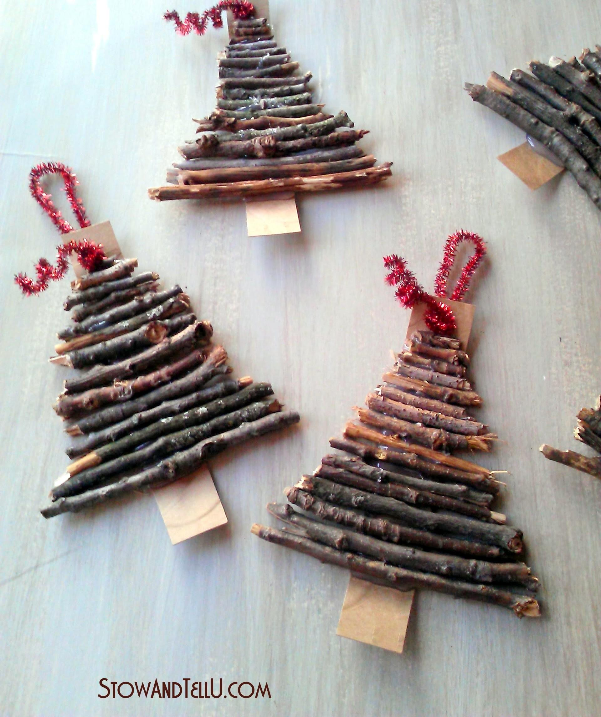 Rustic Twig Cardboard Christmas Tree Ornaments