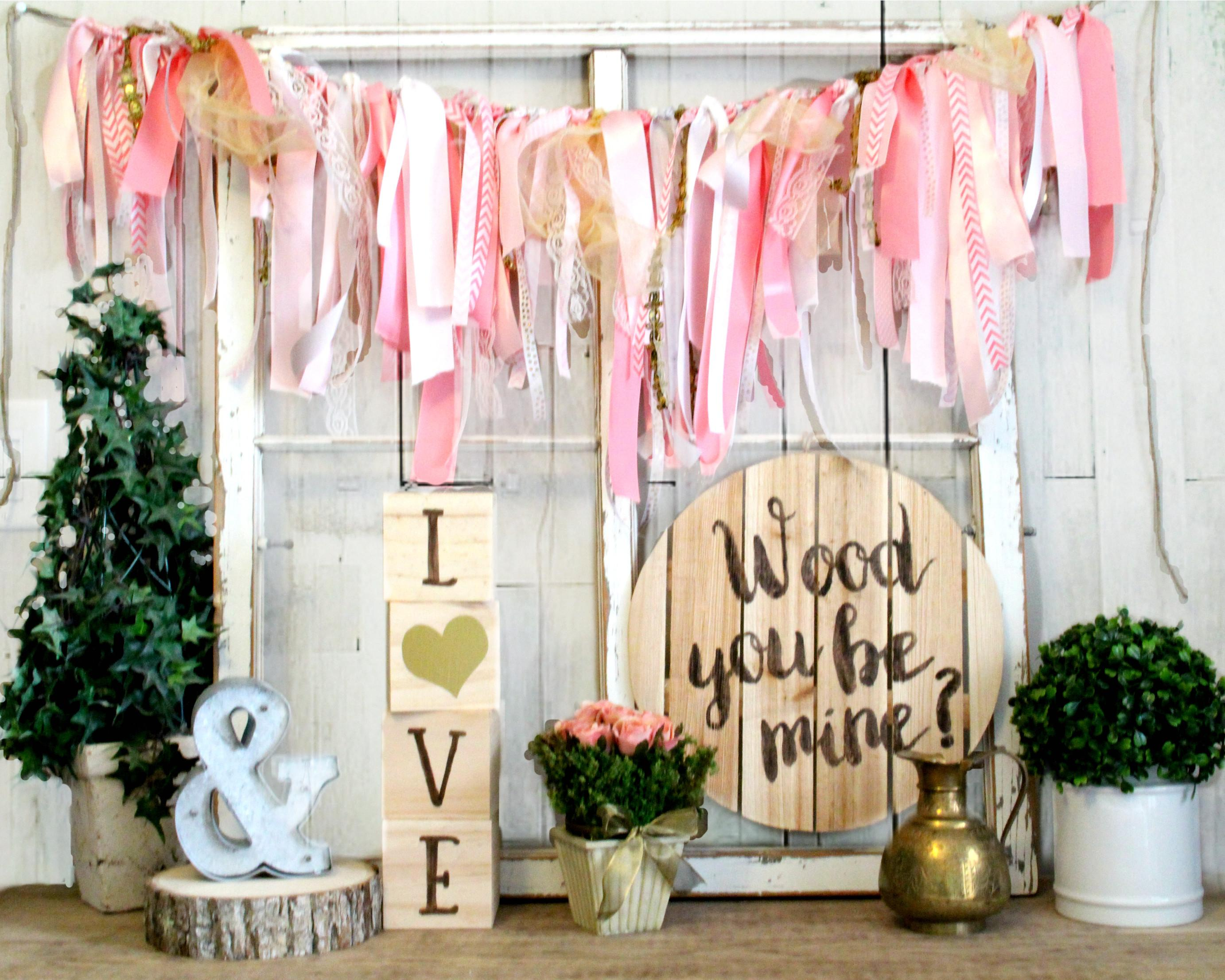 Rustic Valentines Day Decor Wood Mine Wall