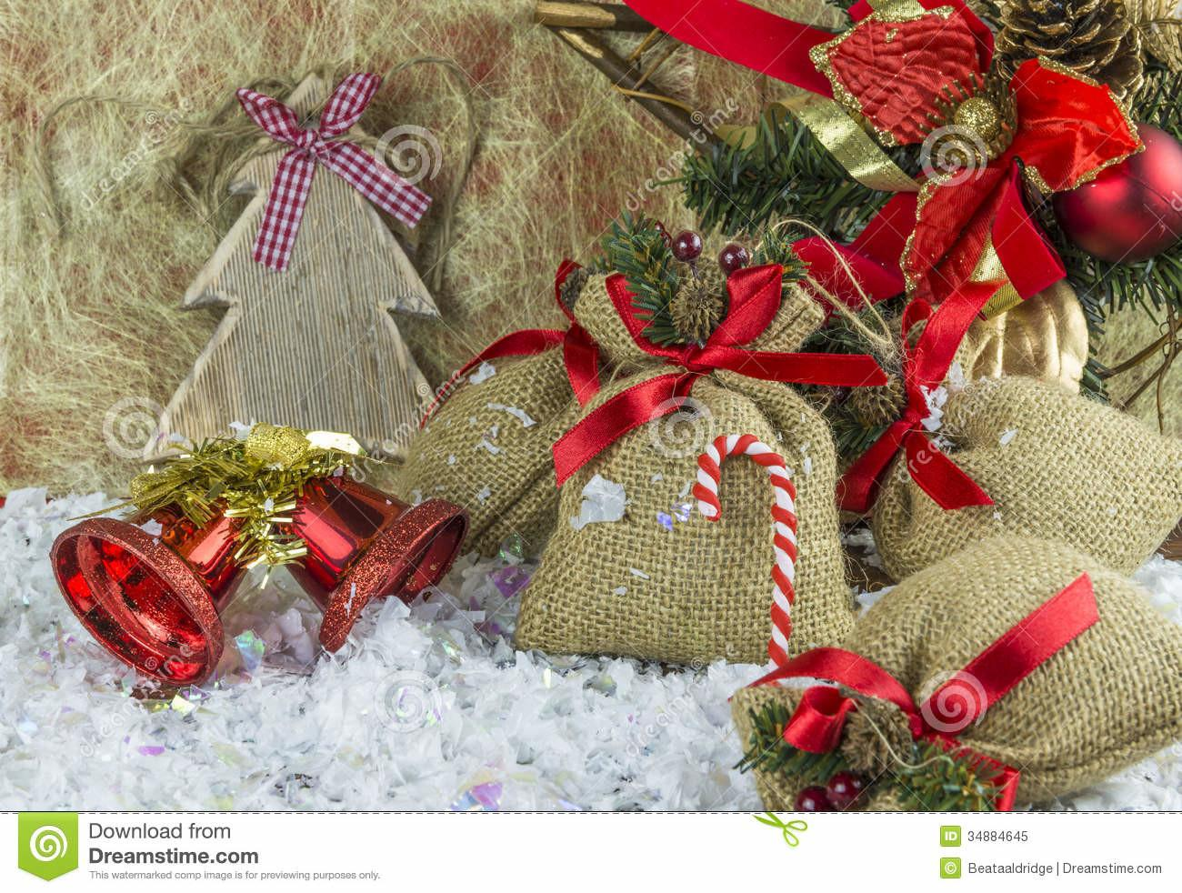 Rustic Vintage Christmas Decorations Stock