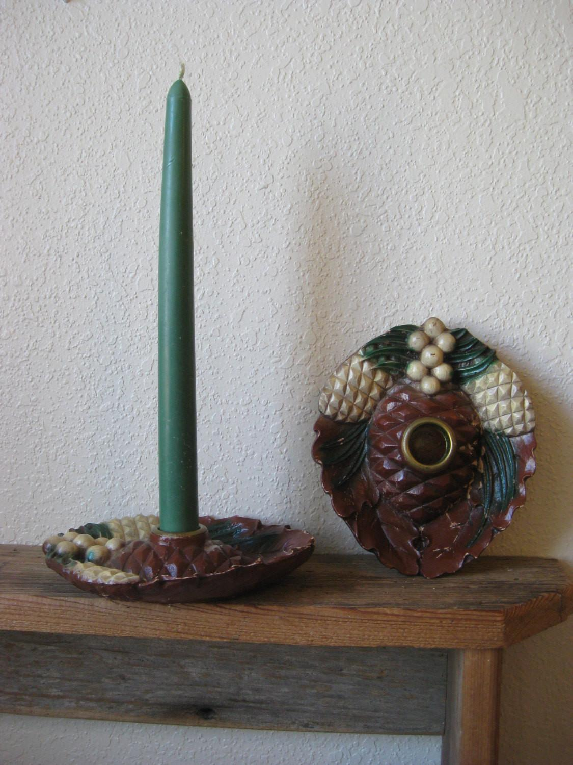 Rustic Vintage Pine Cone Candle Holders Squaregrannyvintage
