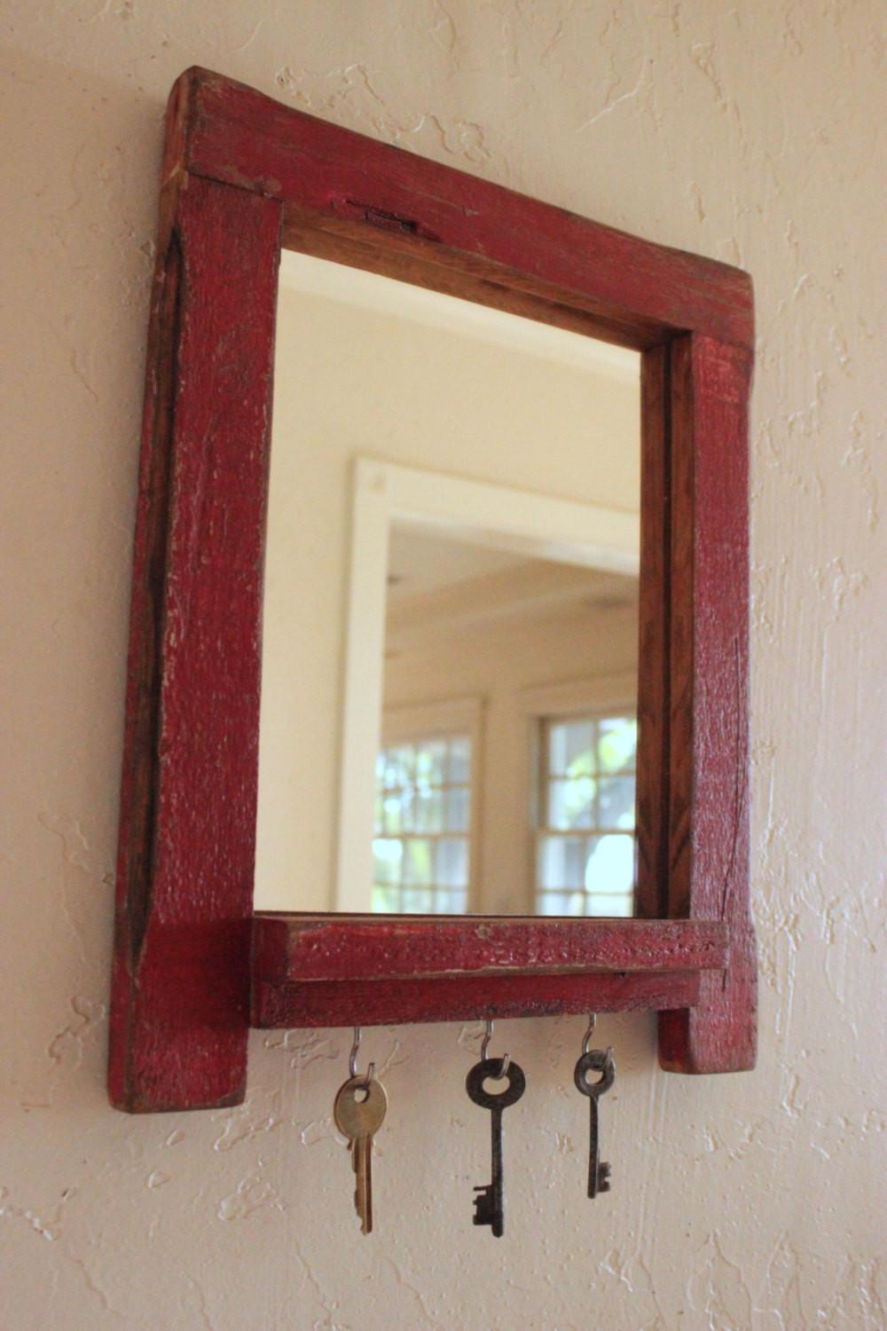 Rustic Wall Mount Entryway Organizer Mirror