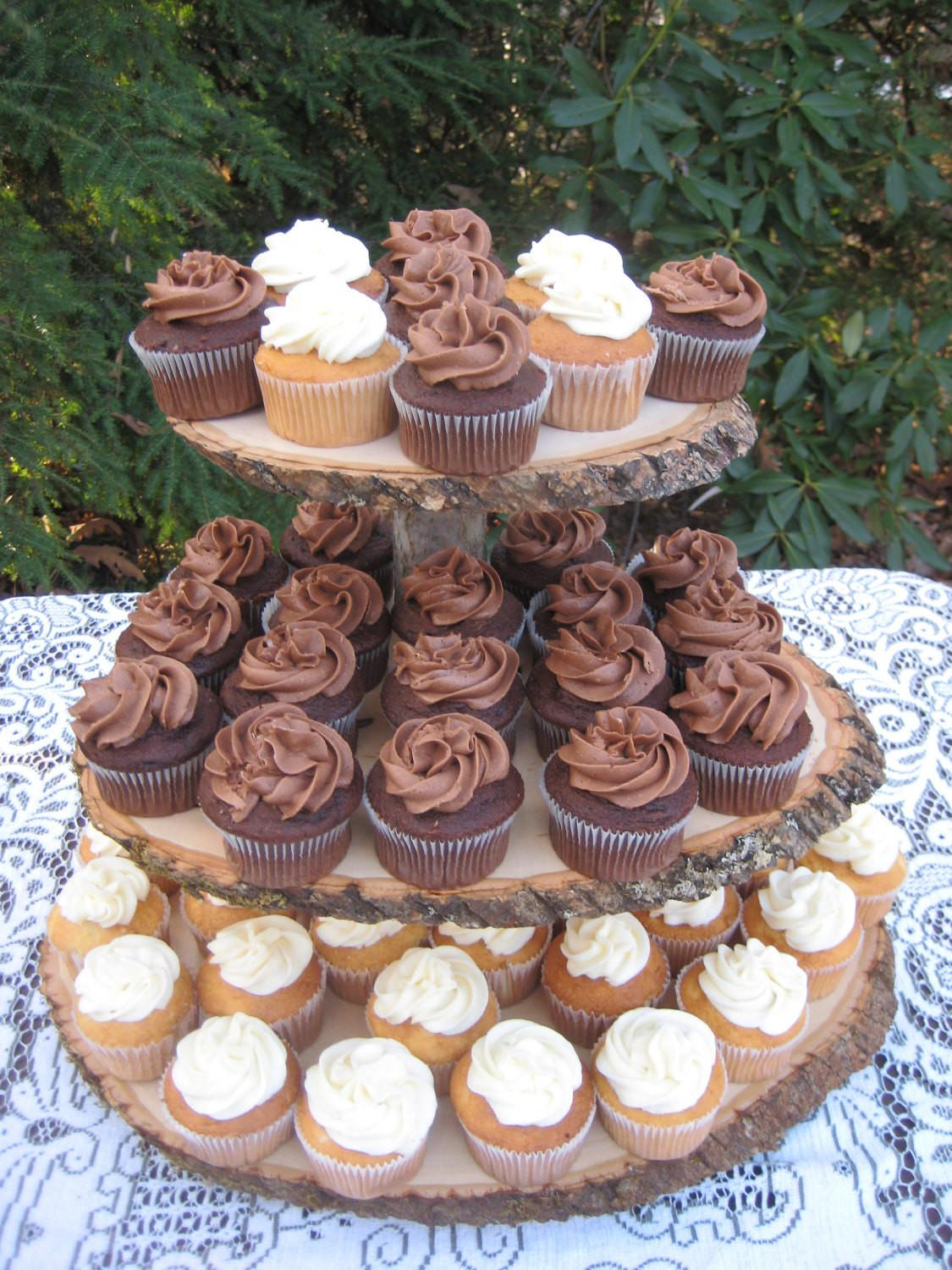 Rustic Wedding Cupcake Stand Log Slices Tier