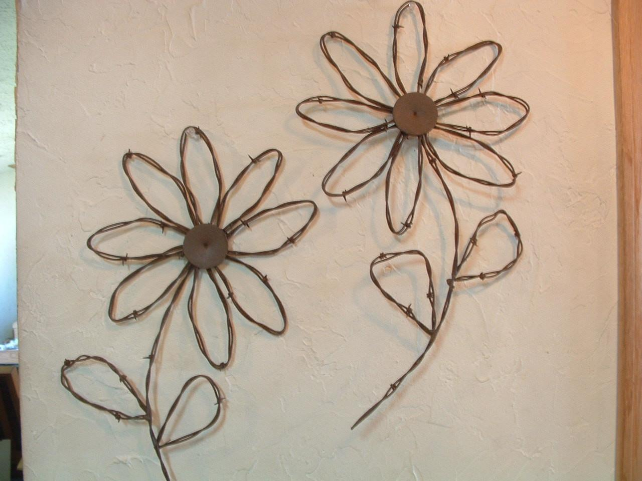 Rustic Western Rusty Barbed Wire Sunflower Wall Decor Set