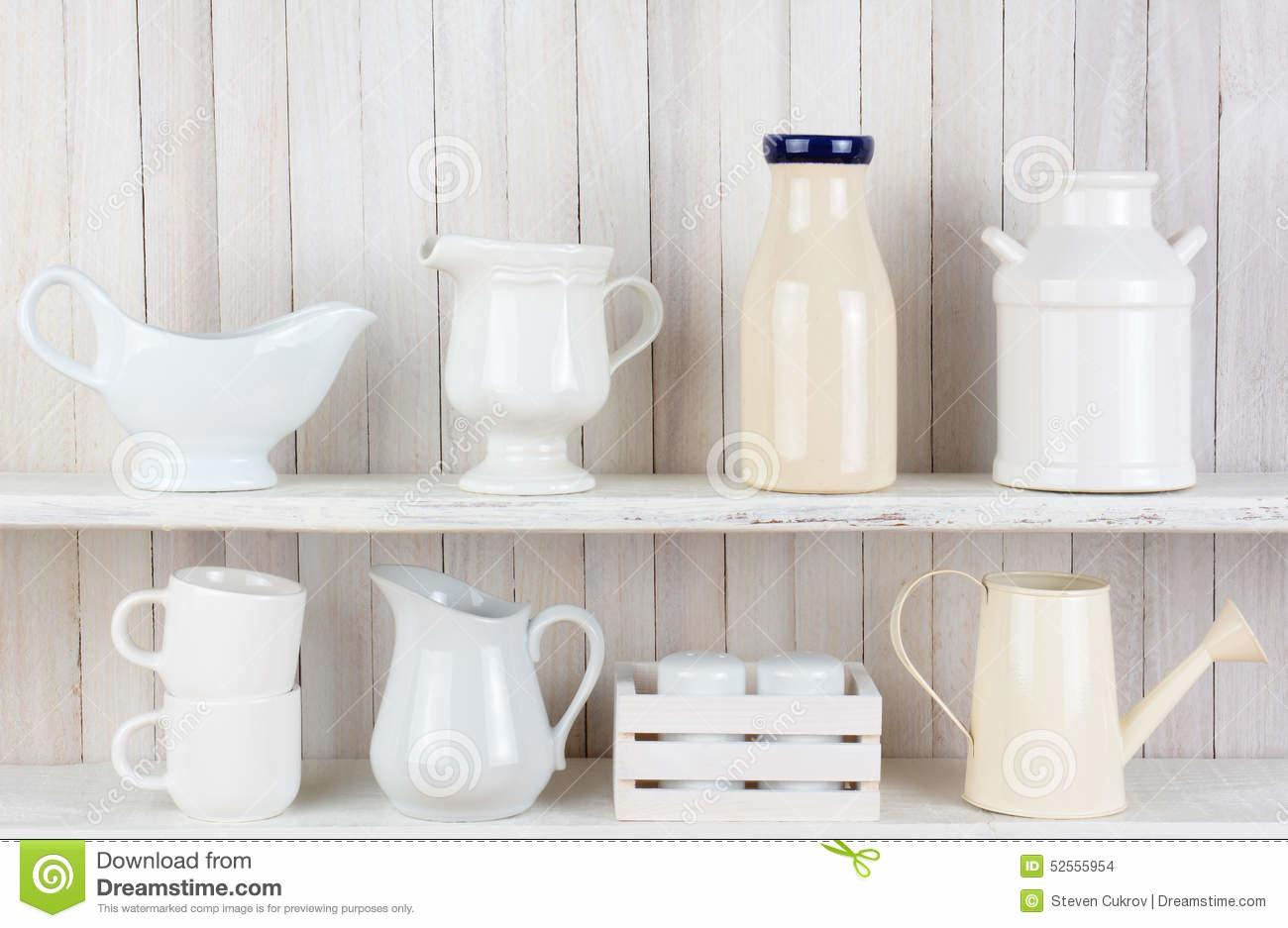 Rustic White Kitchen Shelves Stock