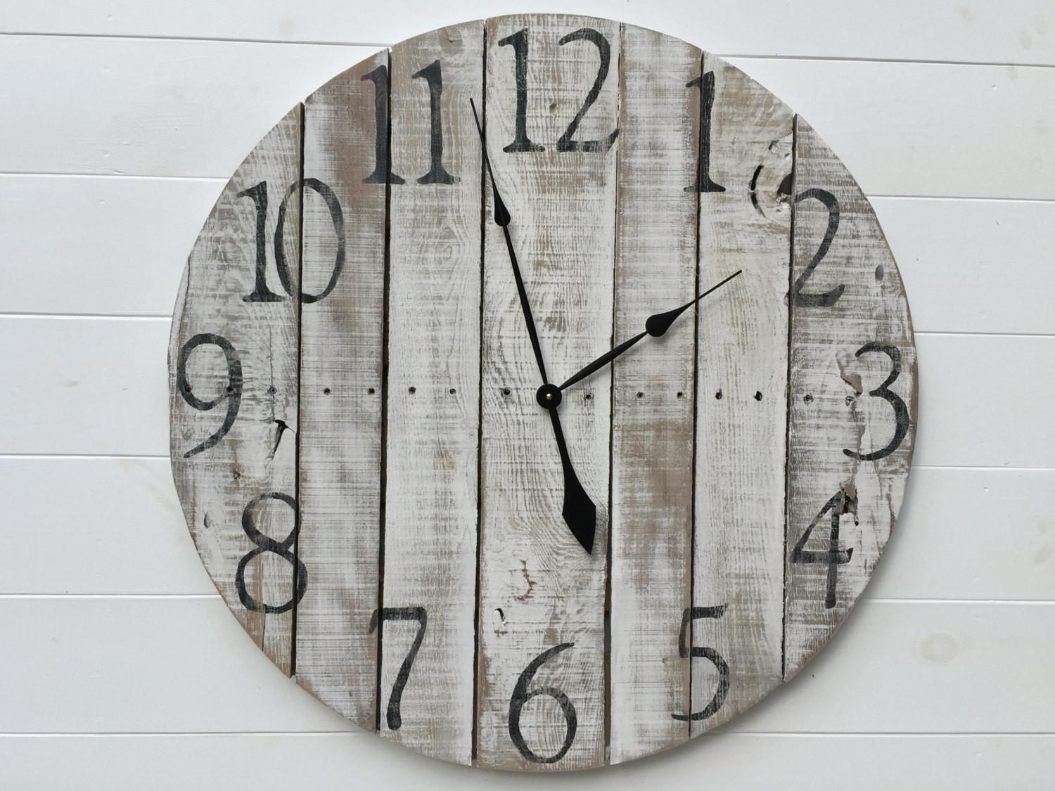 Rustic White Pallet Wood Wall Clock Ticktockcreations