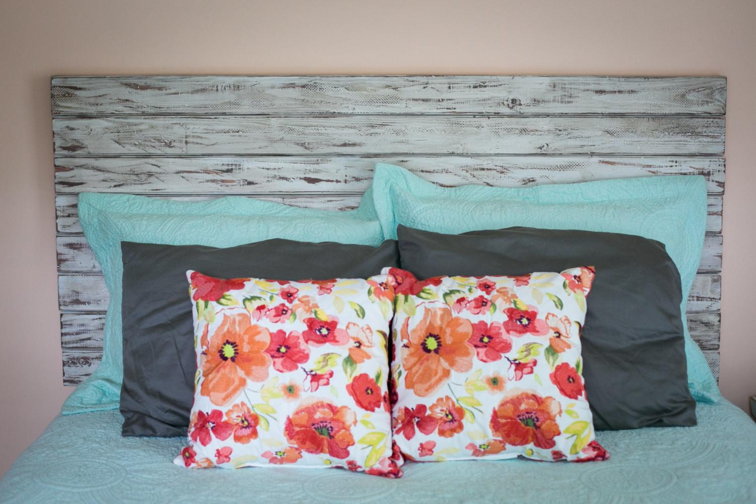 Rustic White Queen Headboard Floating Distressed