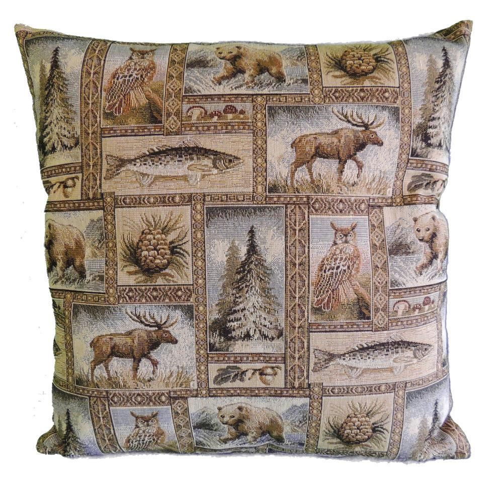 Rustic Winter Woodlands Fabric Throw Pillow Cabin