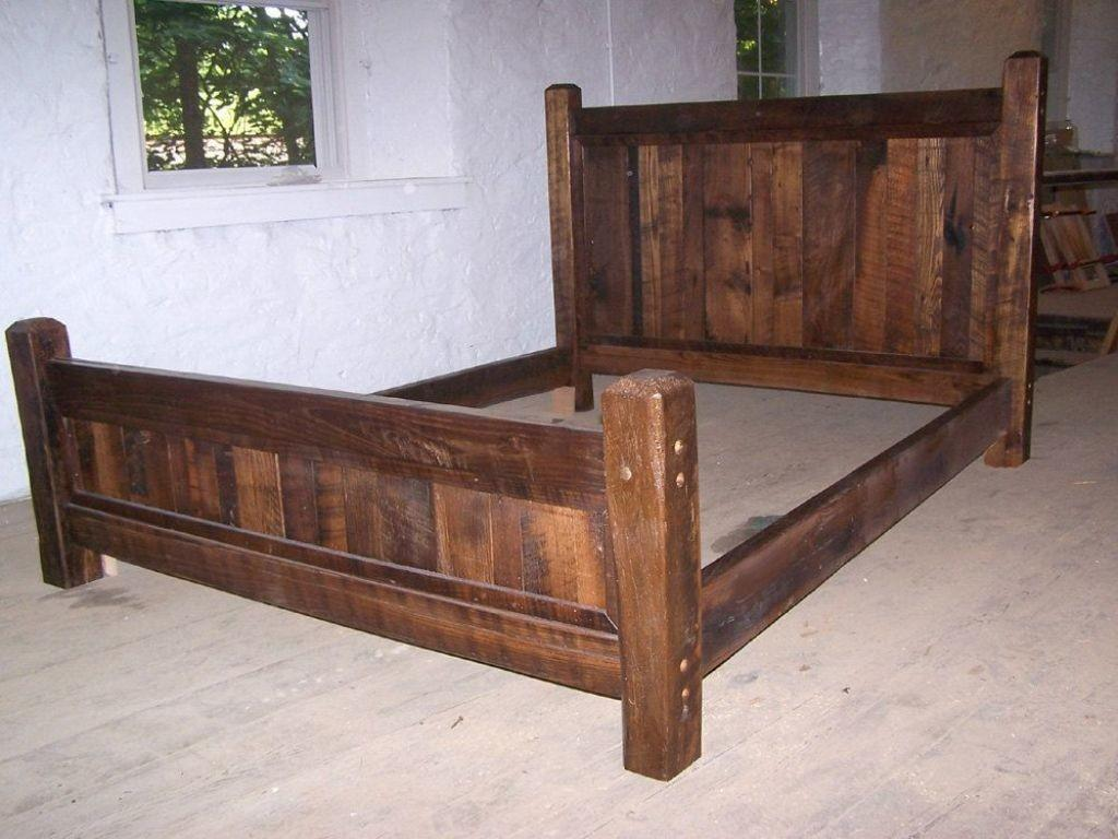 Rustic Wood Bed Frame Into Glass Natural