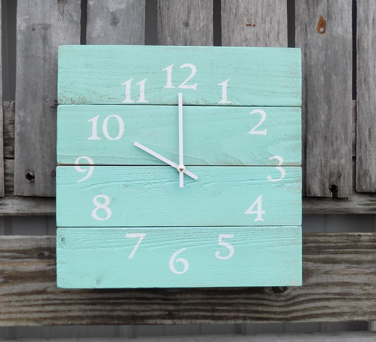 Rustic Wood Clock Beach Aqua Pallet