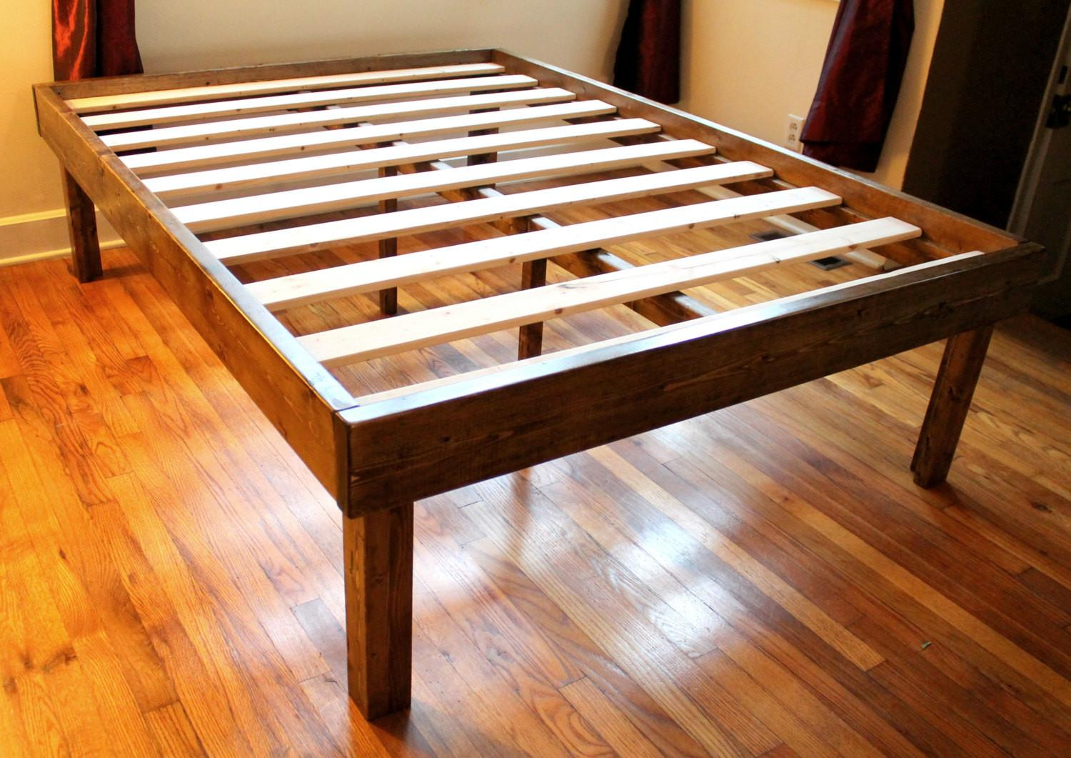 Rustic Wood Minimalist Bed Frame Twin Queen King