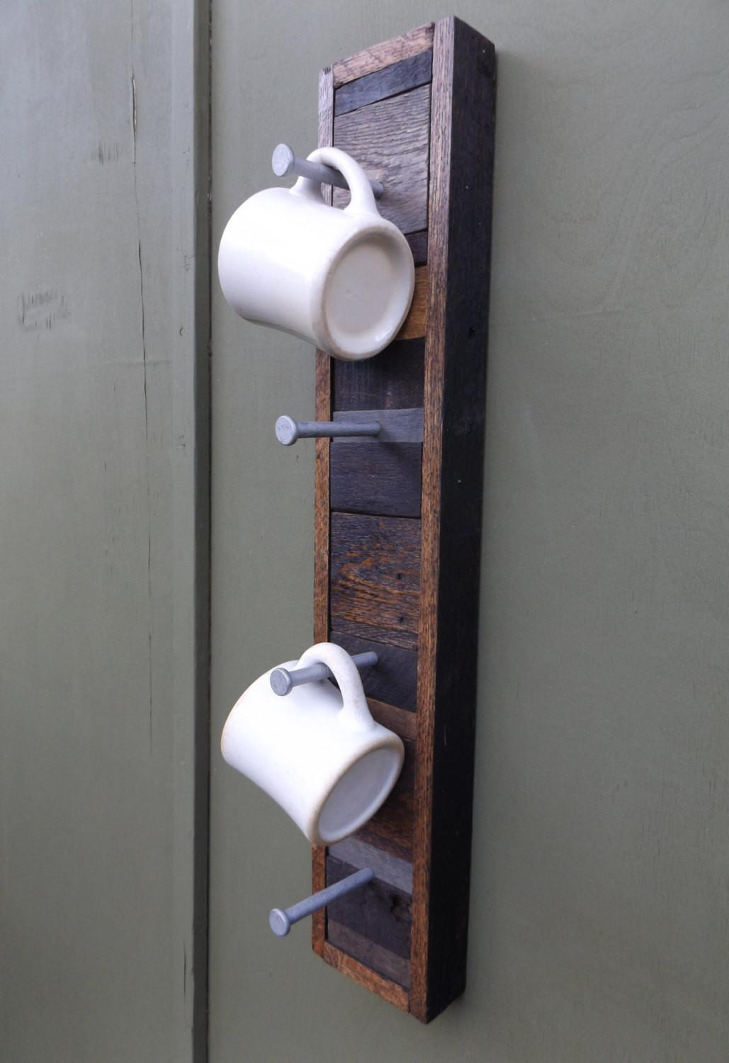 Rustic Wood Rack Coffee Cup Holder