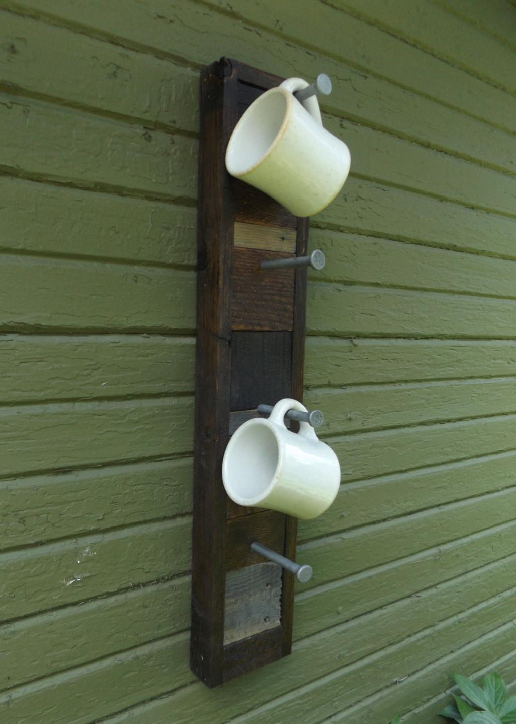 Rustic Wood Rack Coffee Cup Holder Hooks