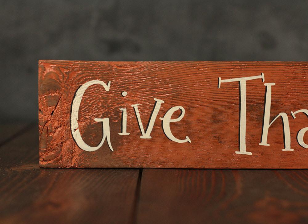 Rustic Wood Sign Give Thanks Every Day Reclaimed