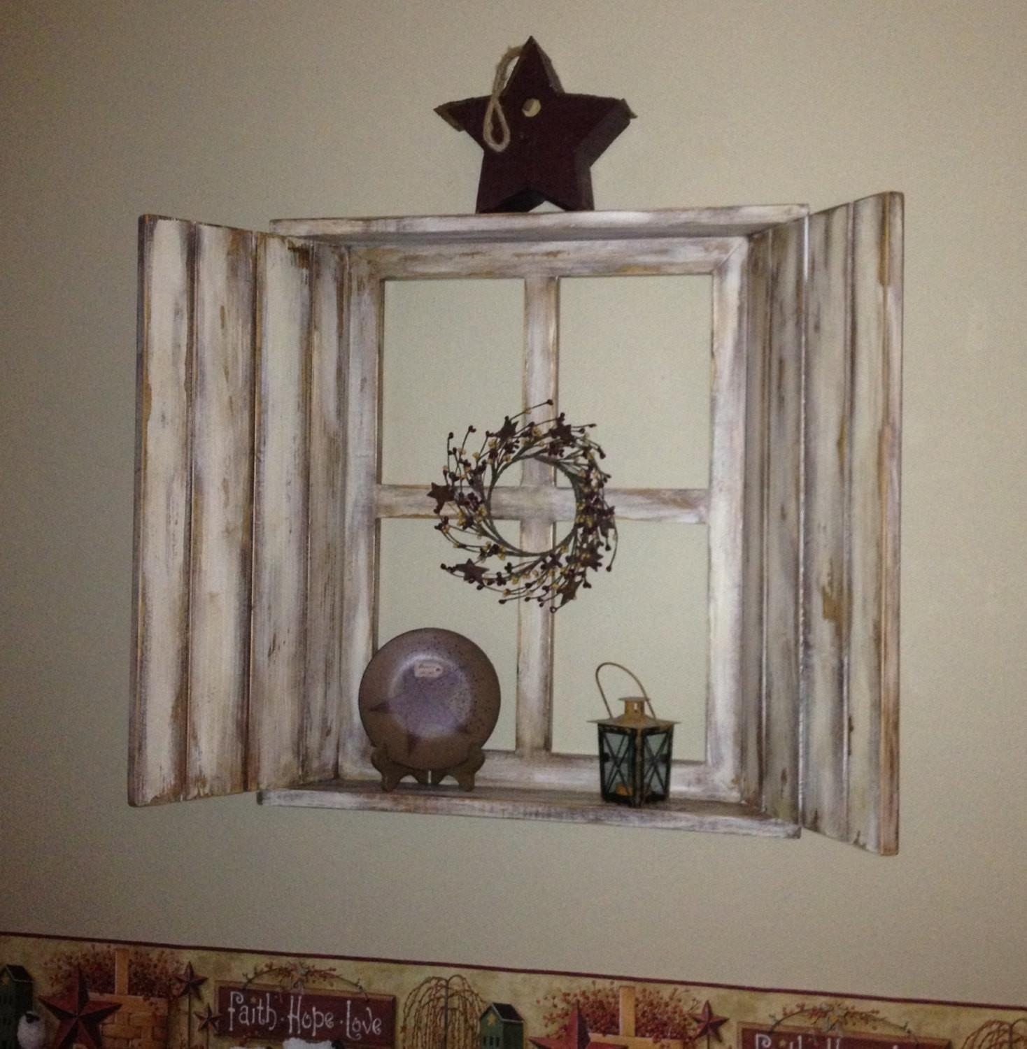Rustic Wood Window Frame Pane Shutters Attached Top