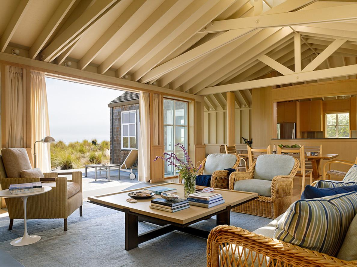 Rustic Wooden Ceiling Above Cane Work Couch Front Square