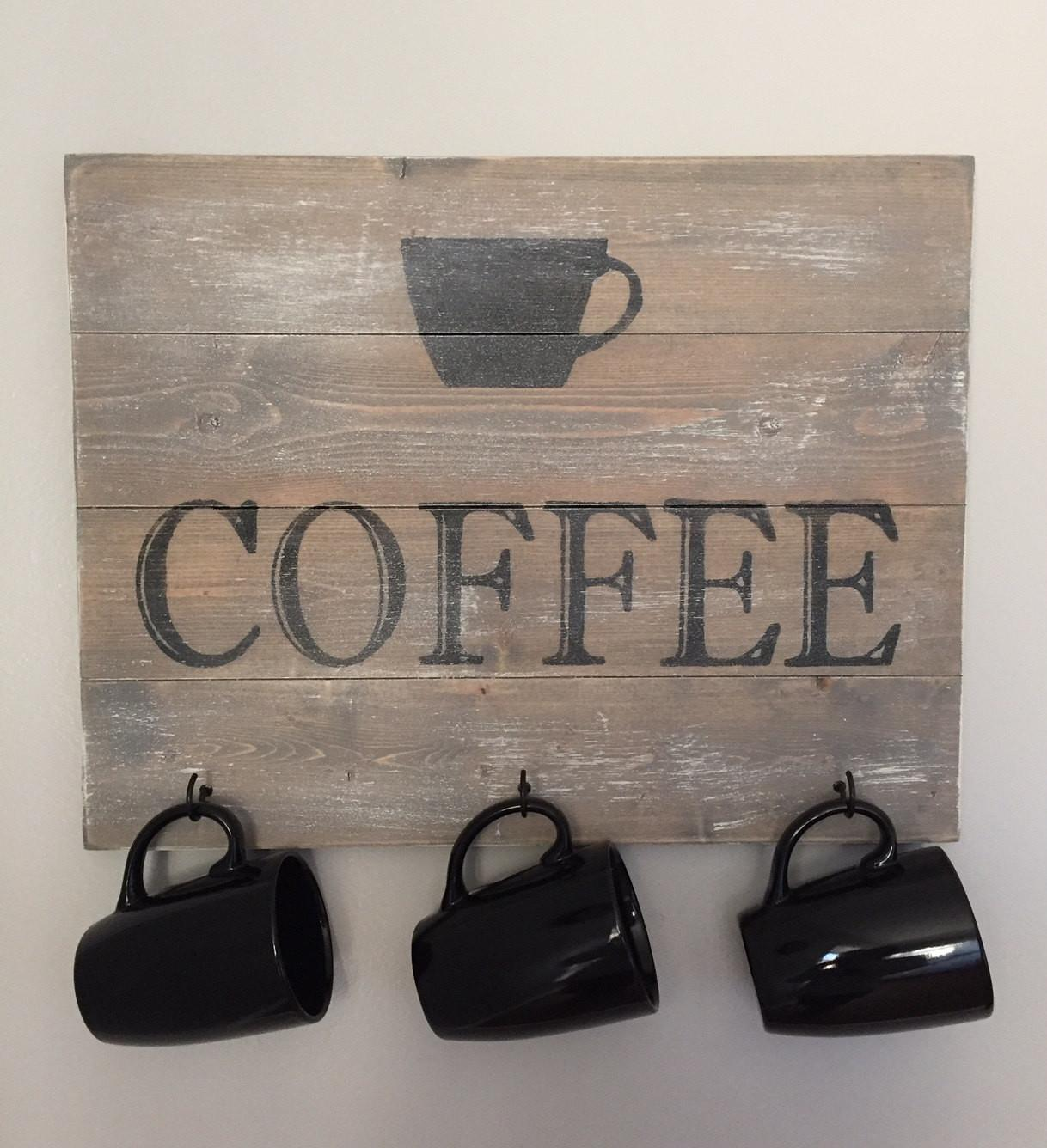Rustic Wooden Coffee Sign Mug Holder Farmhouse