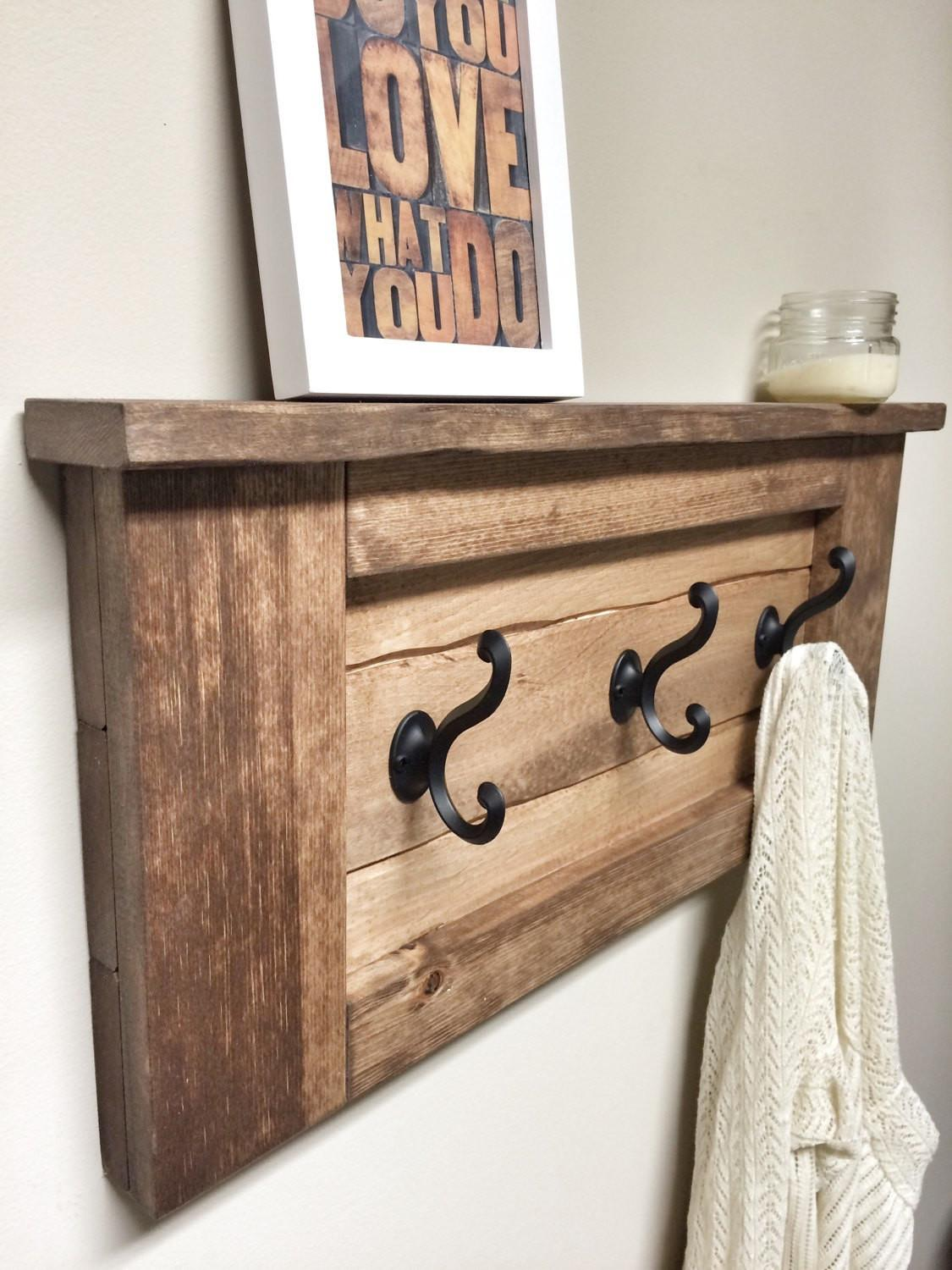 Rustic Wooden Entryway Walnut Coat Rack Shelf