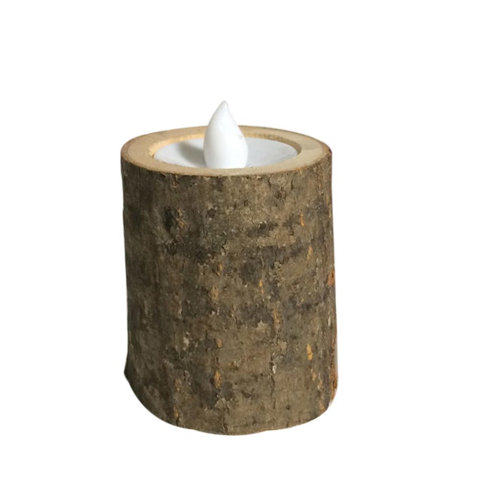 Rustic Wooden Led Candle Tea Light Holder