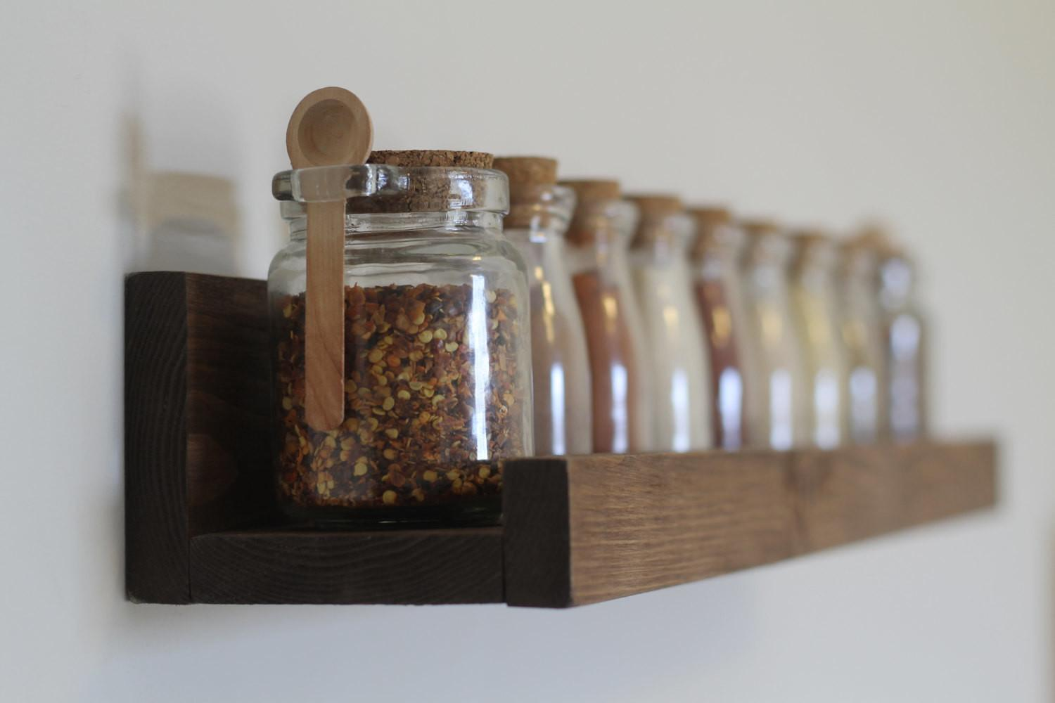 Rustic Wooden Spice Rack Ledge Shelf