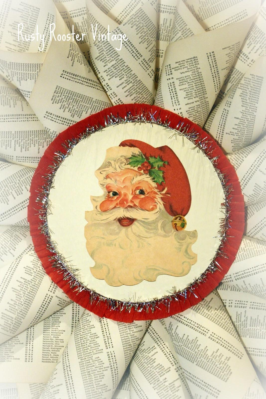 Rusty Rooster Vintage Santa Paper Wreath Charity Event