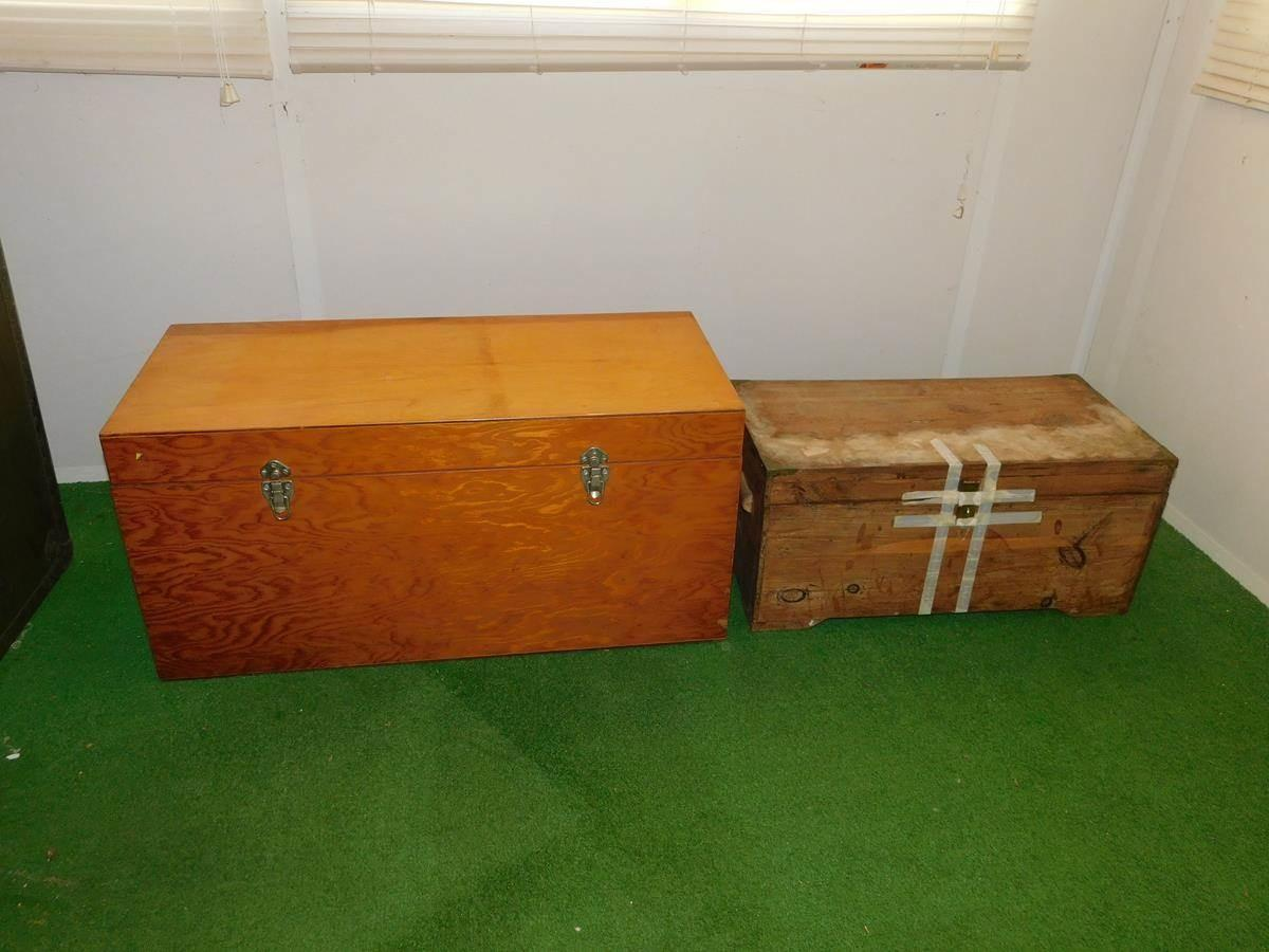 Sac Valley Auctions Lot 107 Pair Wooden Storage Boxes