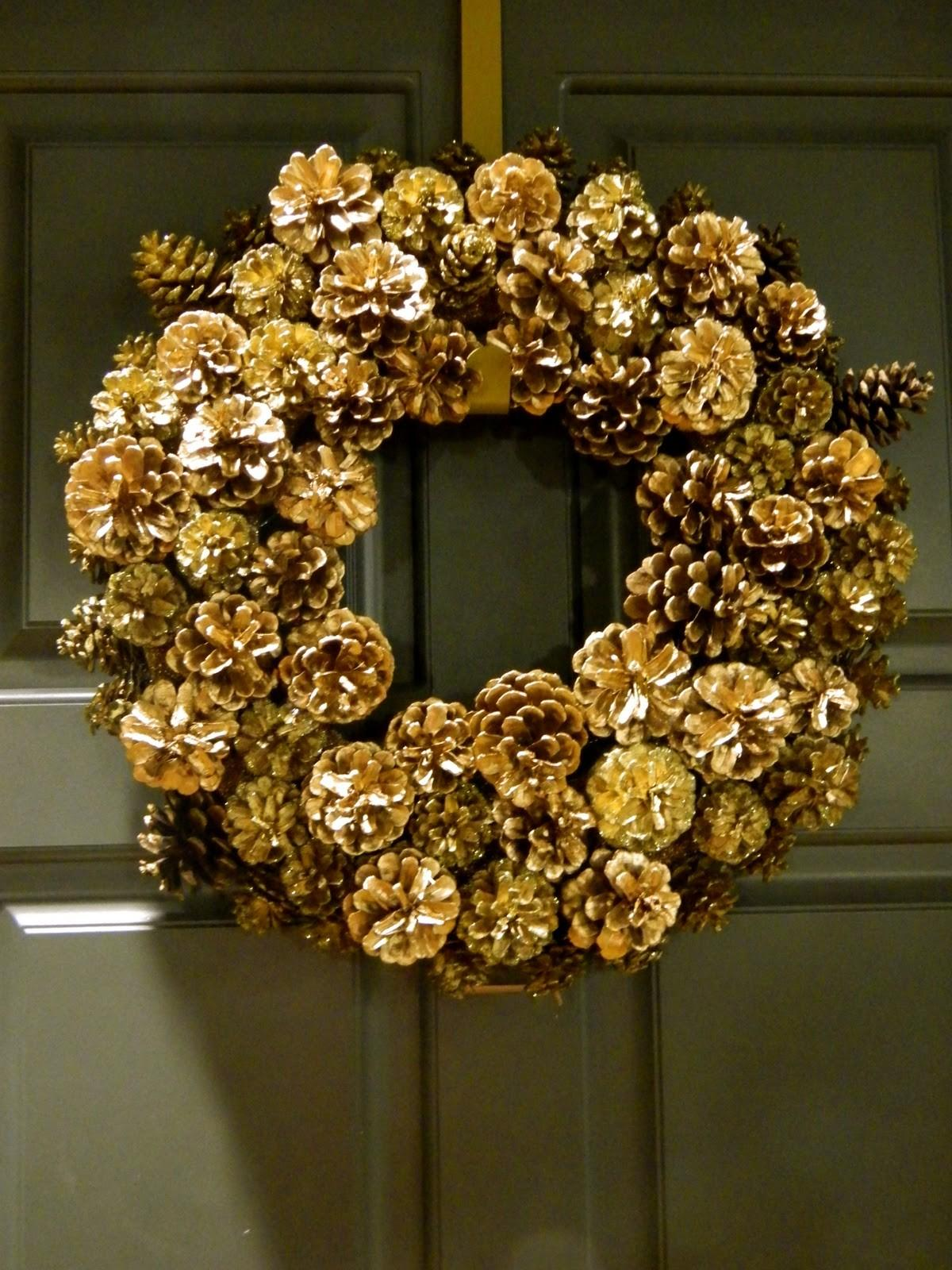 Sadie Stella Diy Gold Glammy Pinecone Wreath