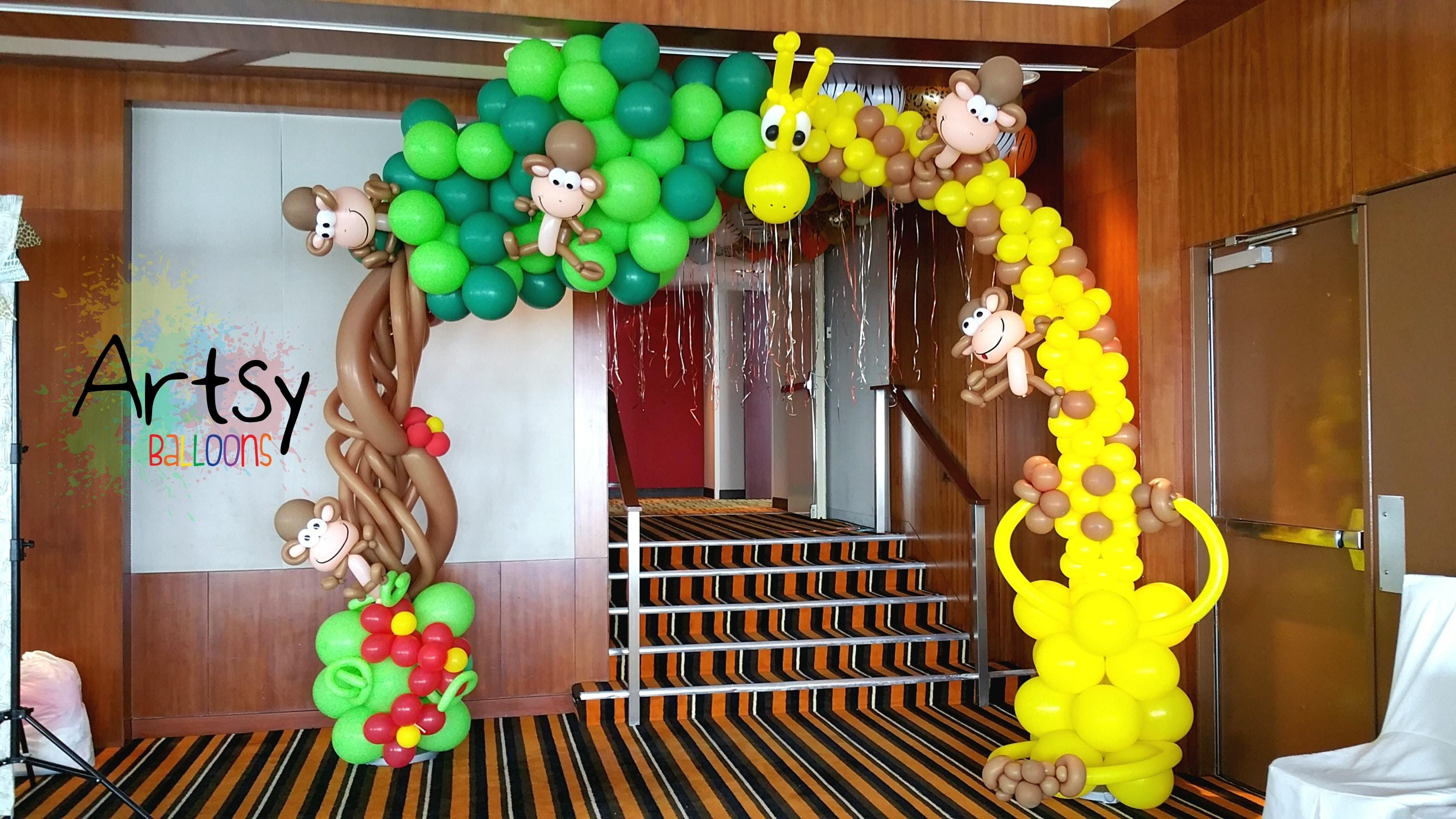 Safari Theme Party Animal Balloon Arch Backdrop