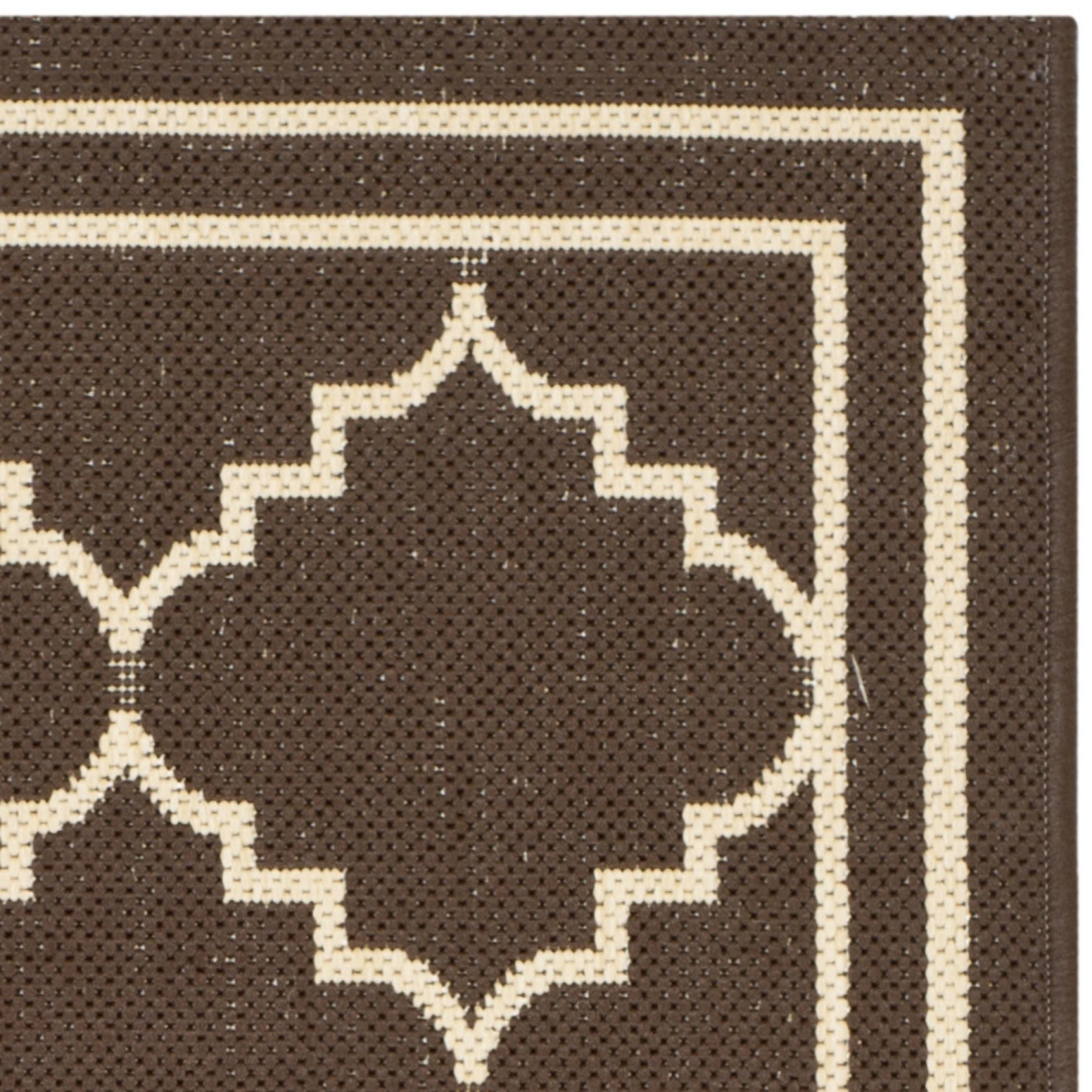 Safavieh Courtyard Chocolate Cream Indoor Outdoor Rug