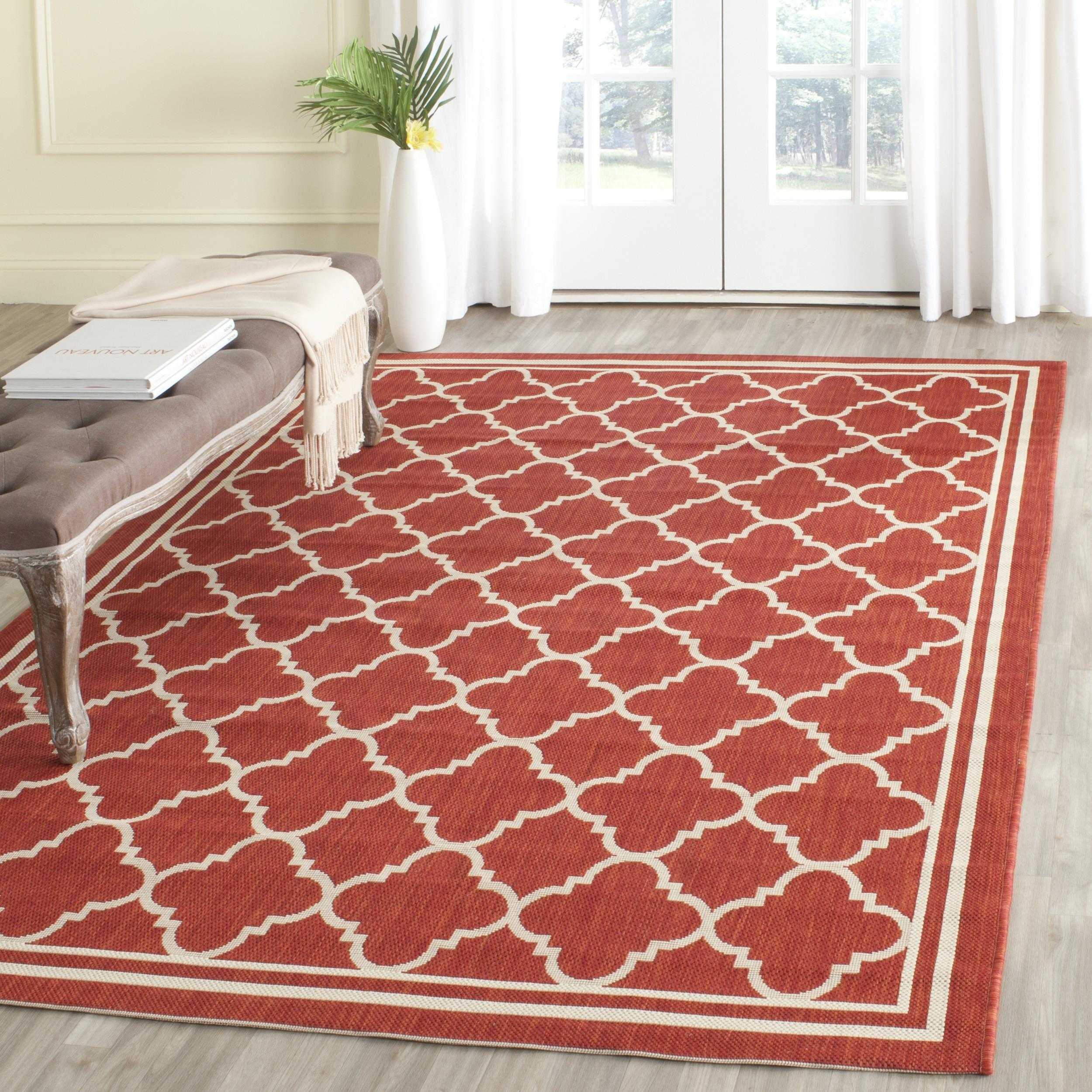 Safavieh Courtyard Red Bone Indoor Outdoor Area Rug