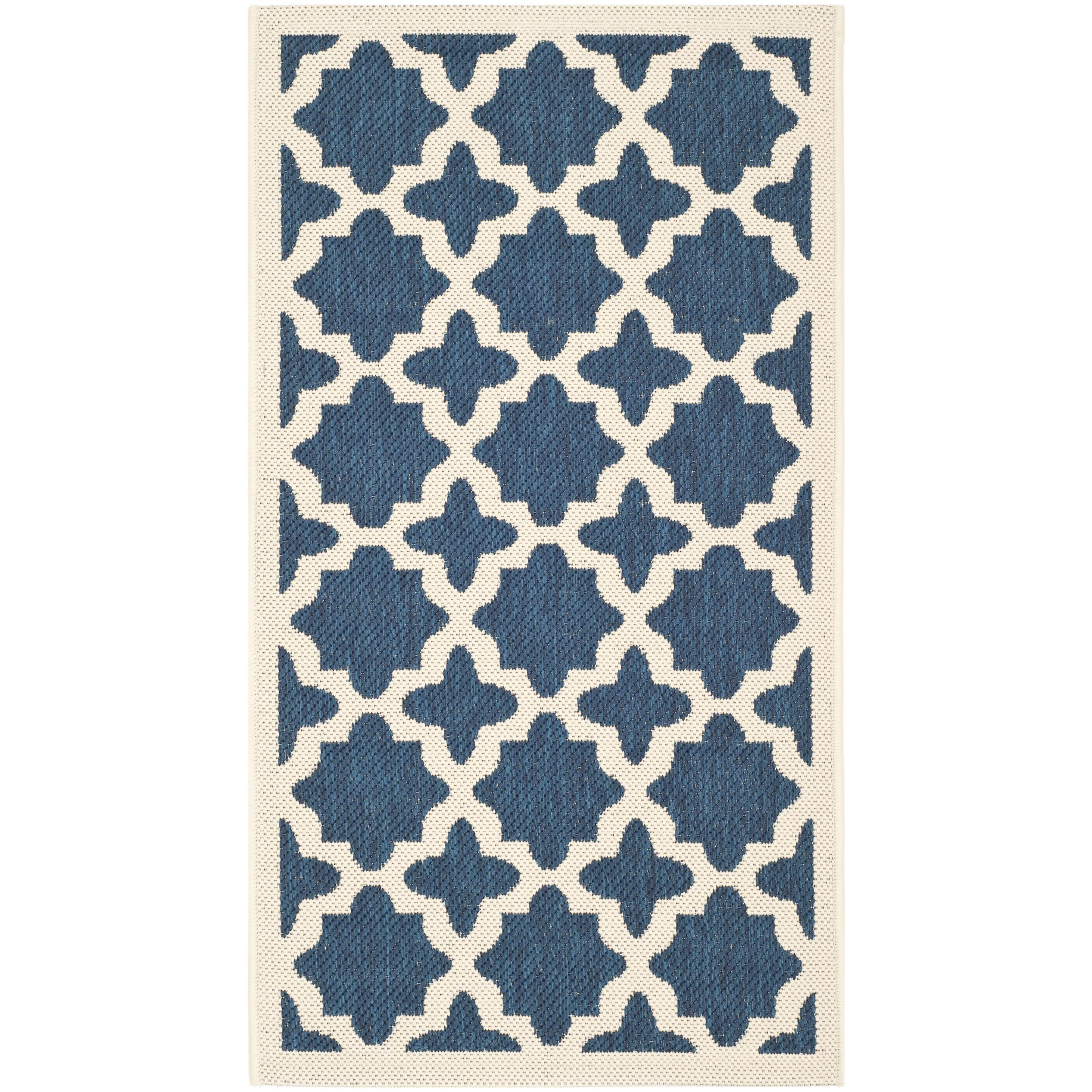 Safavieh Indoor Outdoor Navy Beige Polypropylene Area Rugs