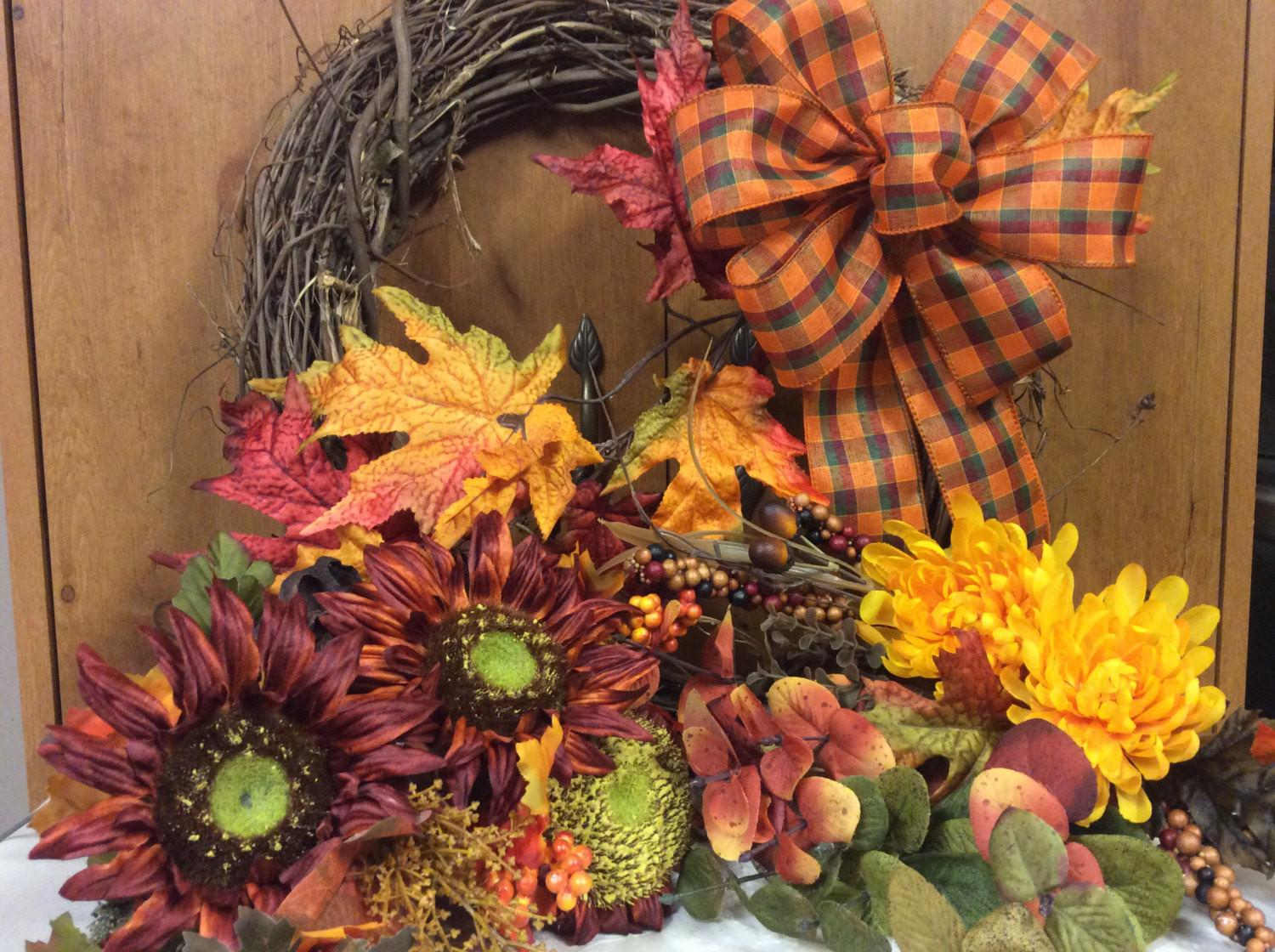 Sale Diy Fall Floral Wreath Kit Autumn Front