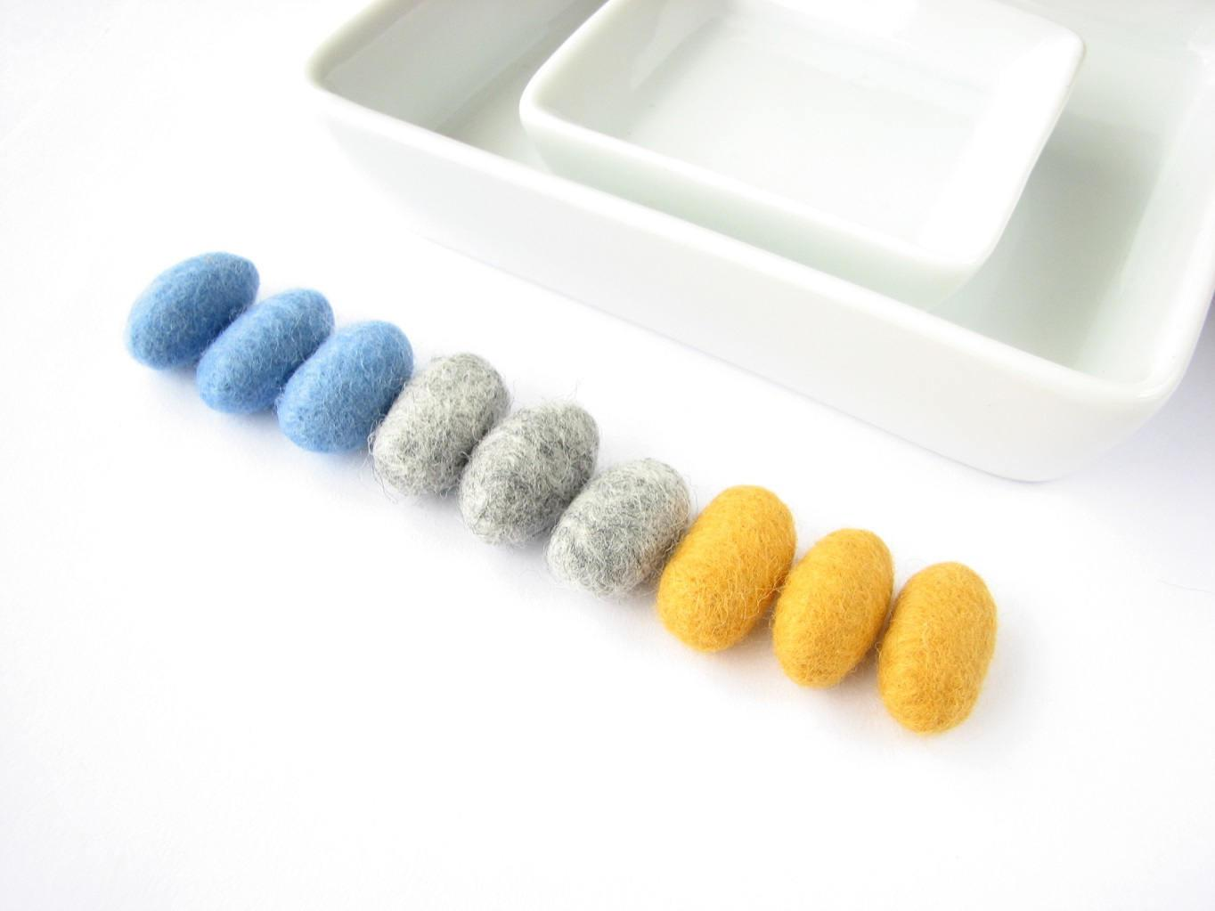 Sale Felted Wool Pebbles Charcoal Sky Blue Yellow