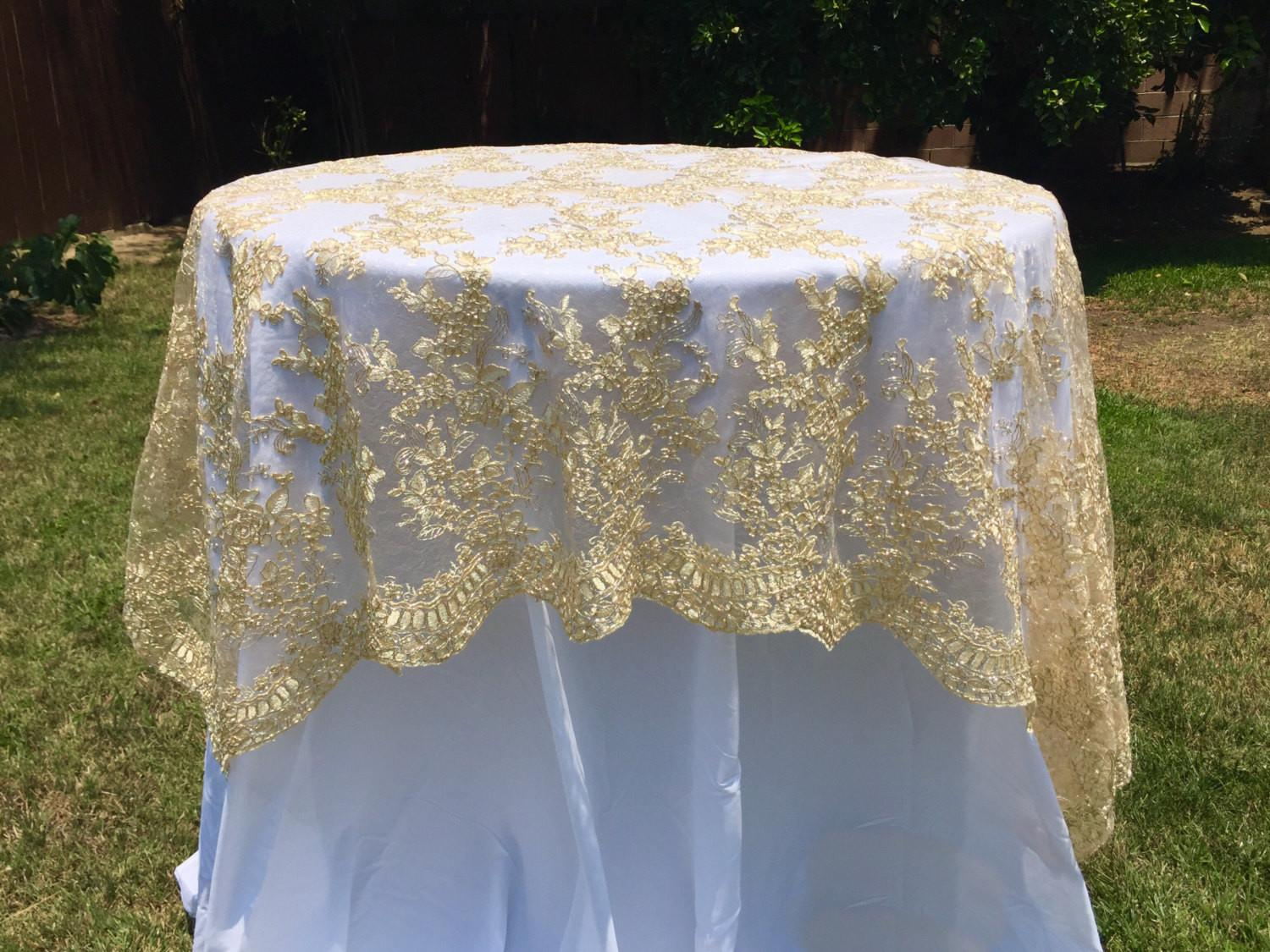 Sale Gold Embroidered Lace Table Runner Tablecloth
