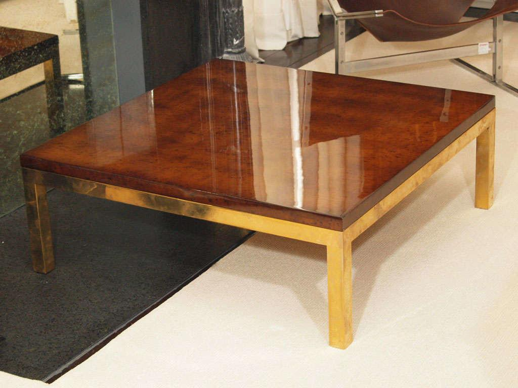 Sale Sleek Lacquered Burl Laminate Low Table Guy