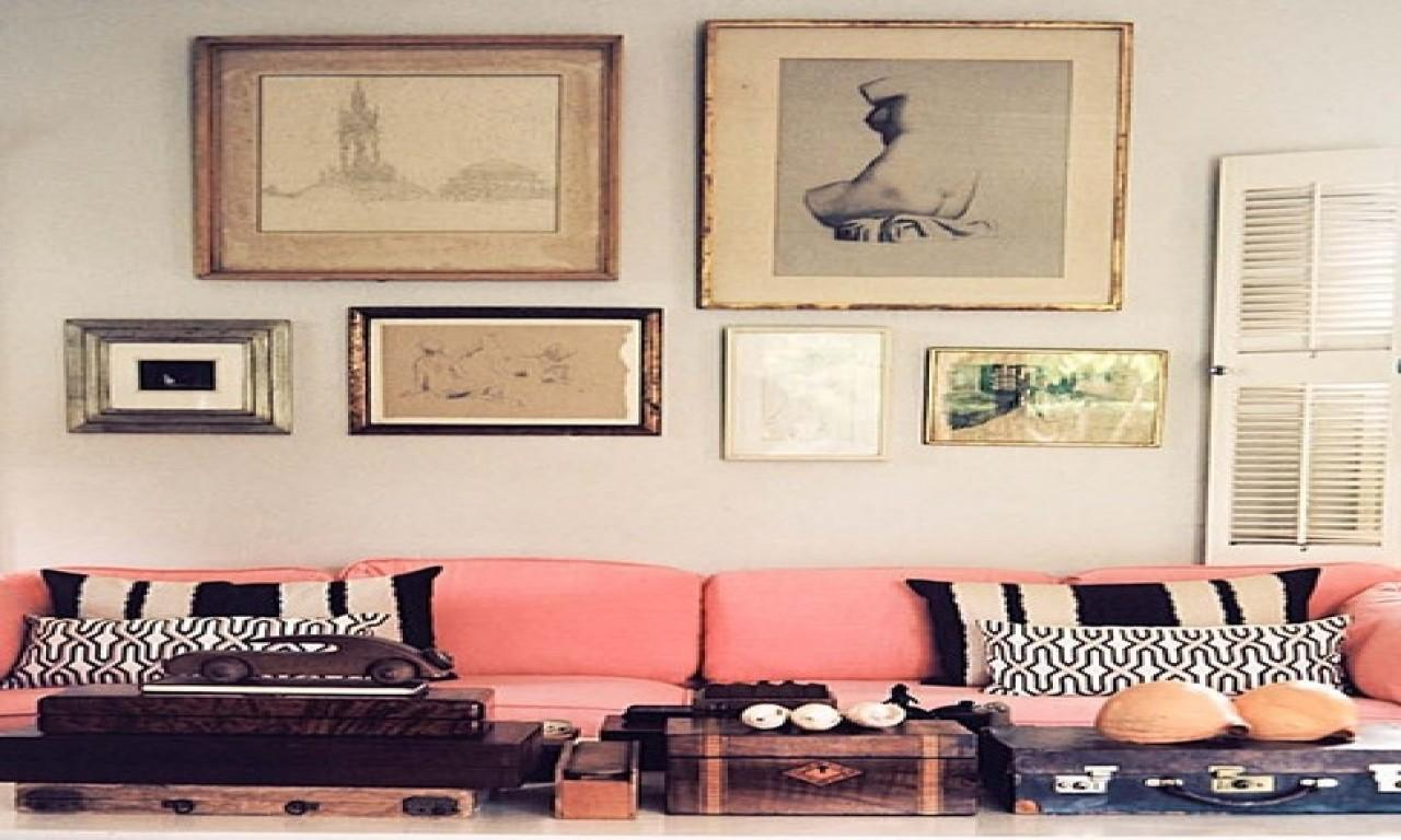 Salmon Pink Sofa Wallnot Sure Color