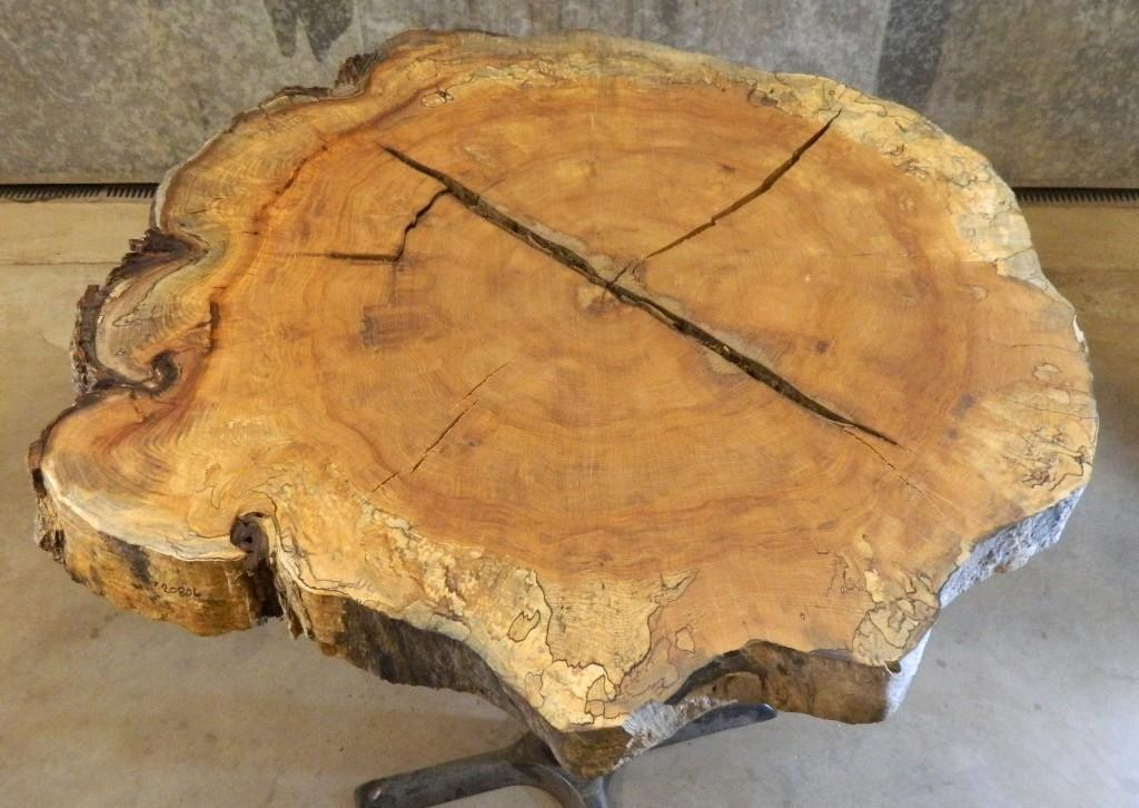 Salvaged Live Edge Round Cut Spalted Maple Coffee Table