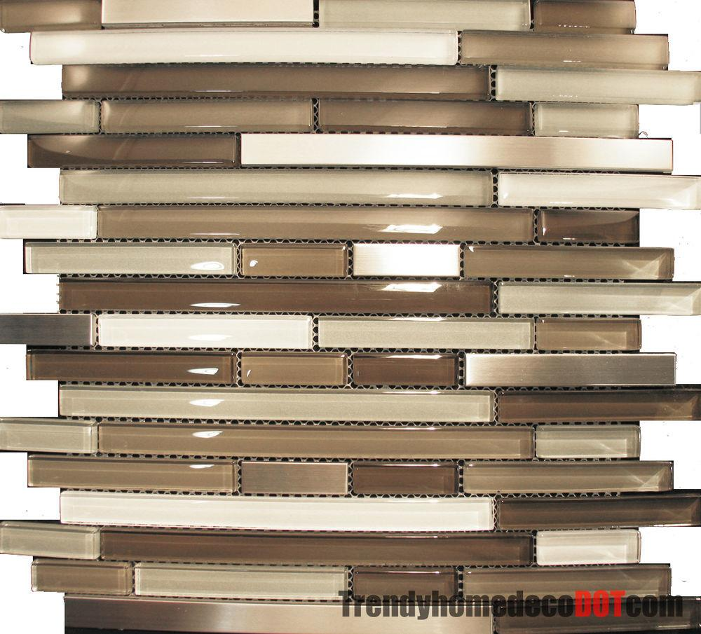 Sample Stainless Steel Cream Beige Linear Glass Mosaic