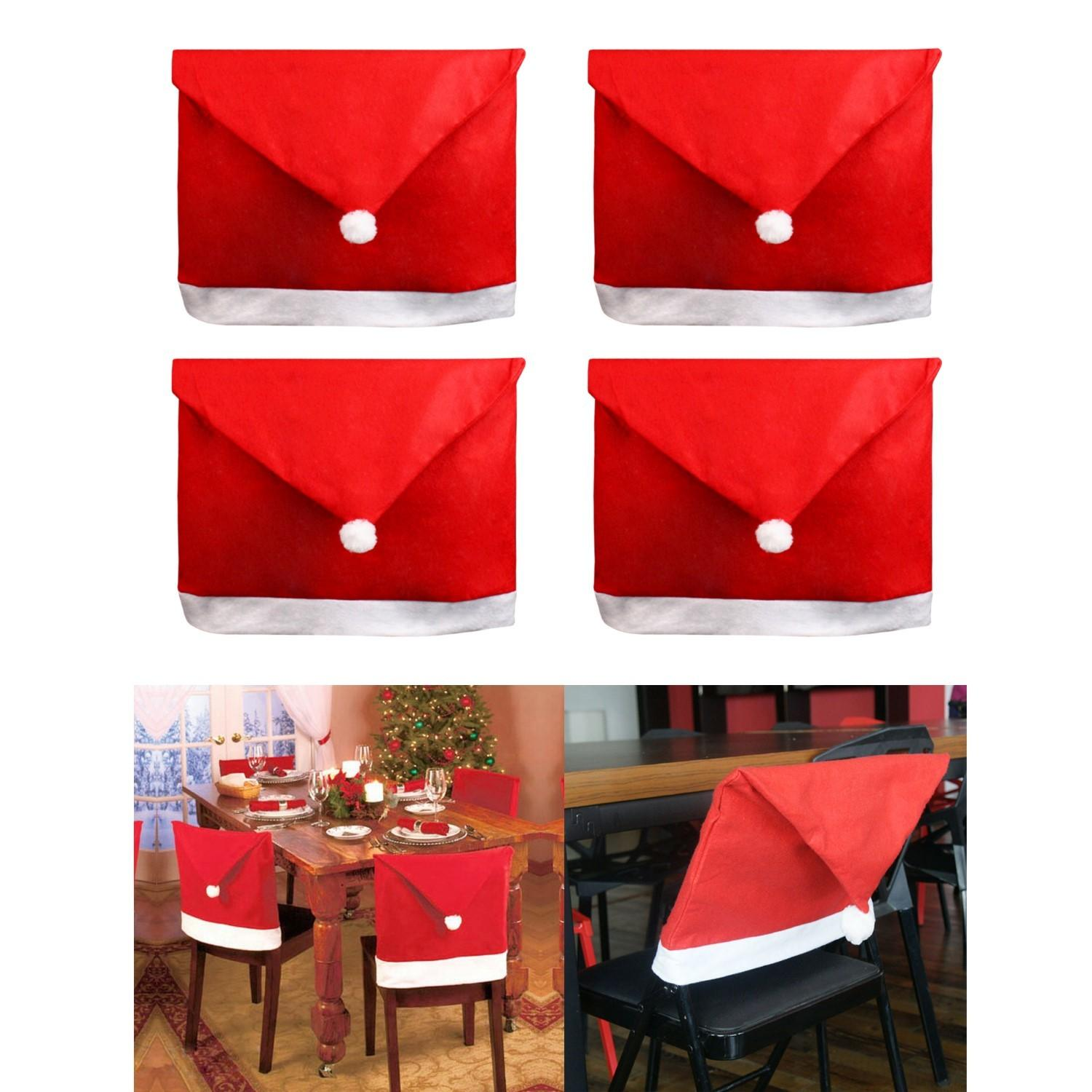 Santa Clause Decorations Red Christmas Hat Chair Covers