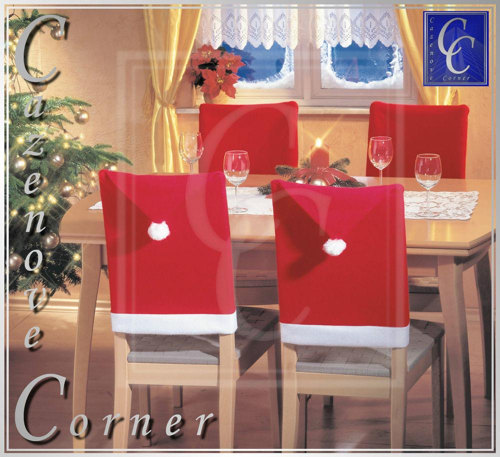 Santa Hat Chair Covers Xmas Party Table Decor Christmas